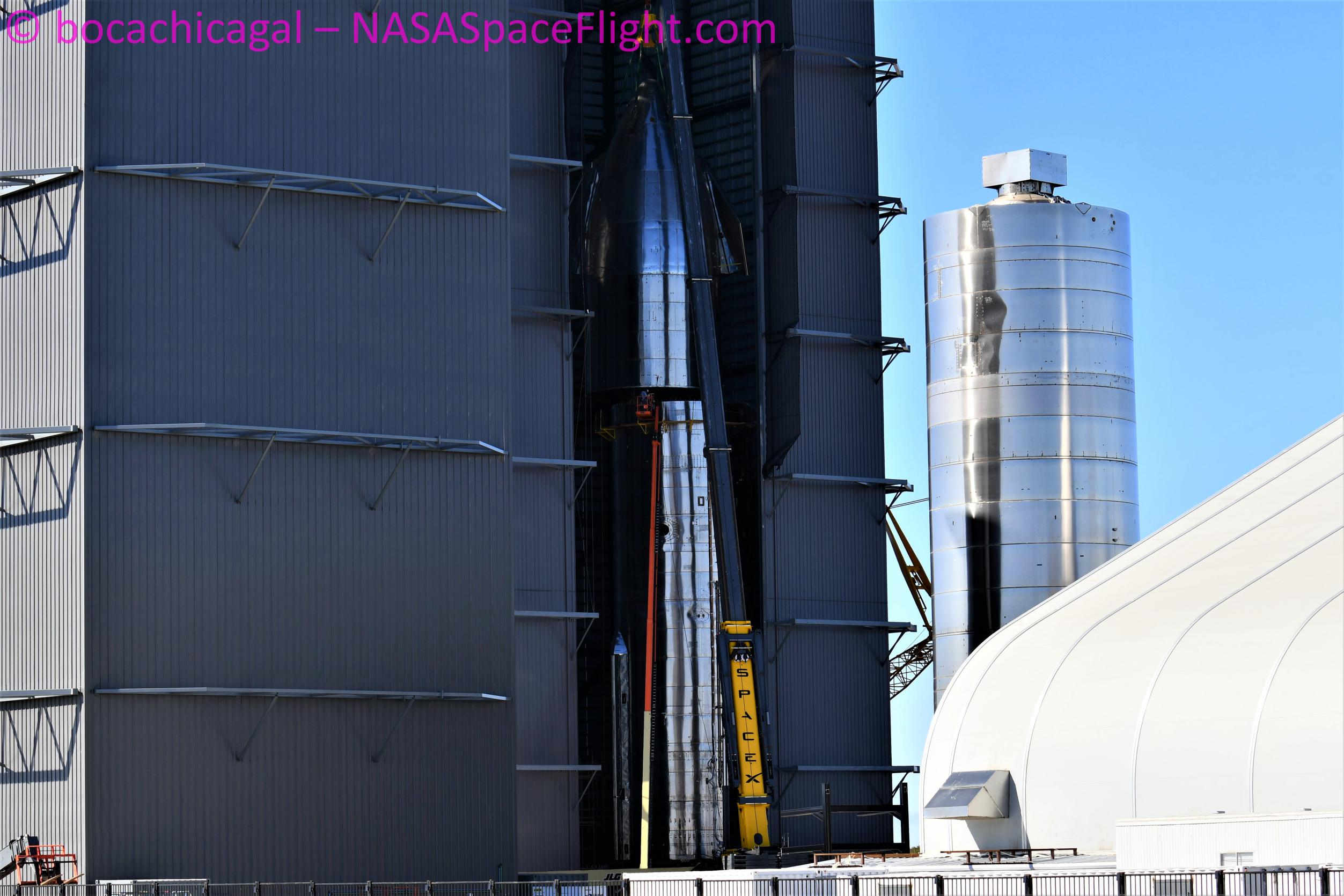 Starship Boca Chica 010221 (NASASpaceflight – bocachicagal) SN10 nose install 5 (c)