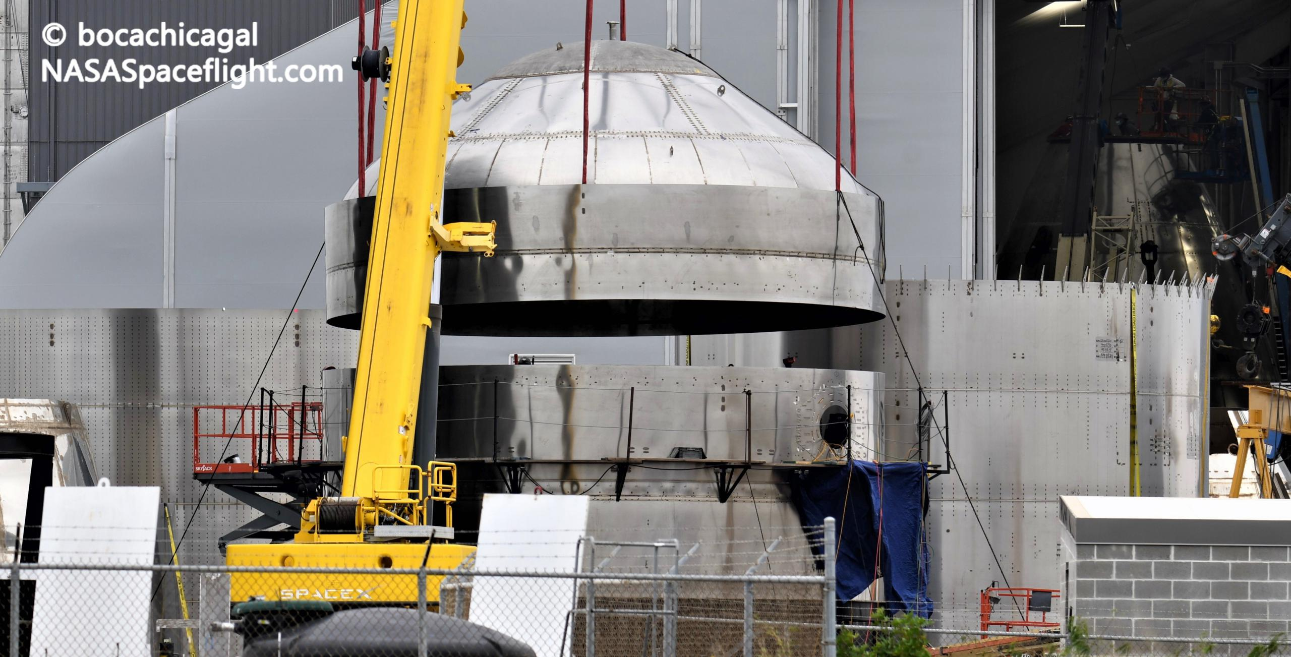 Starship Boca Chica 011221 (NASASpaceflight – bocachicagal) test tank SN7.2 integration 3 crop (c)