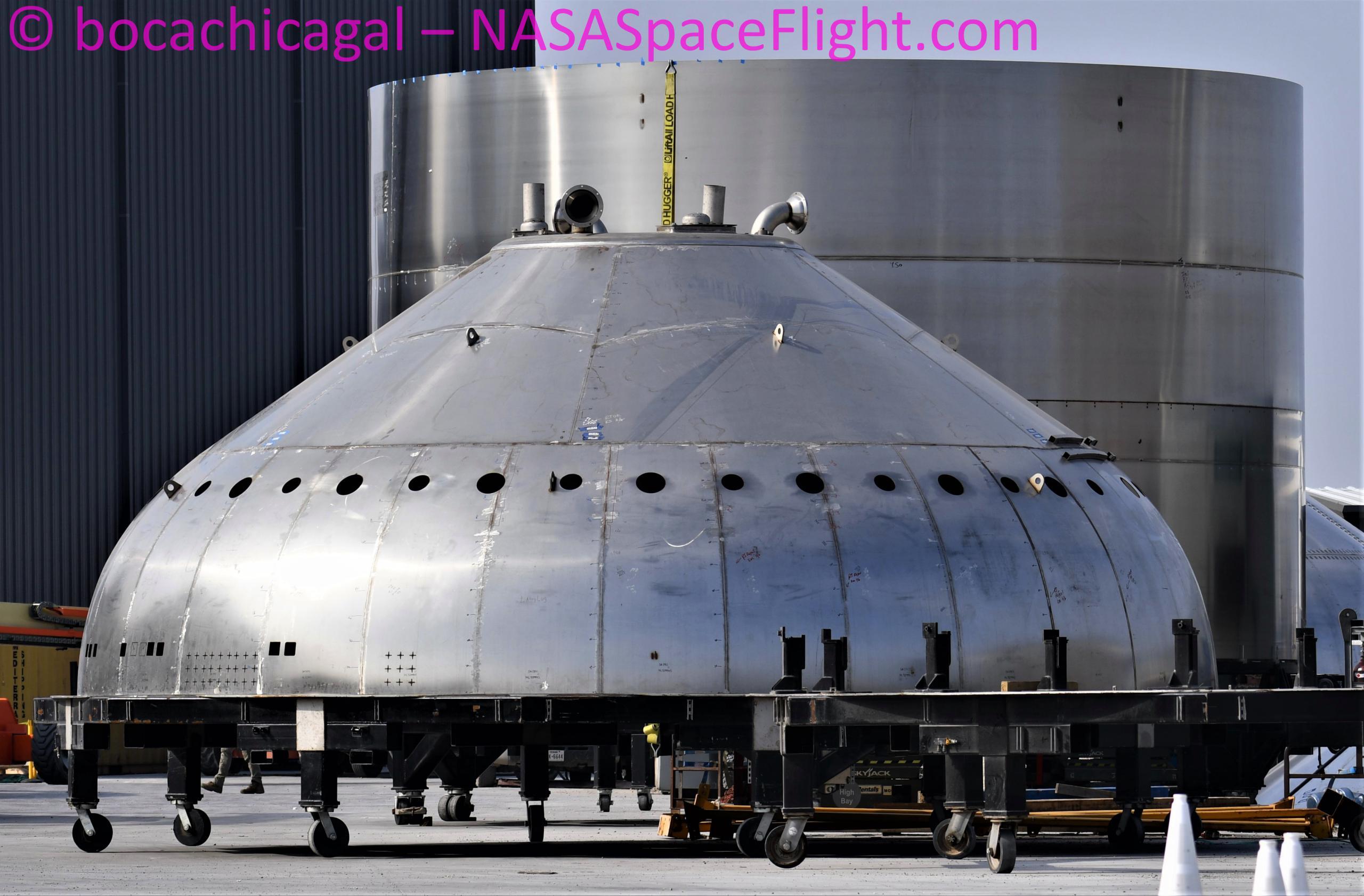 Starship Boca Chica 012521 (NASASpaceflight – bocachicagal) Super Heavy thrust dome practice 1 (c)
