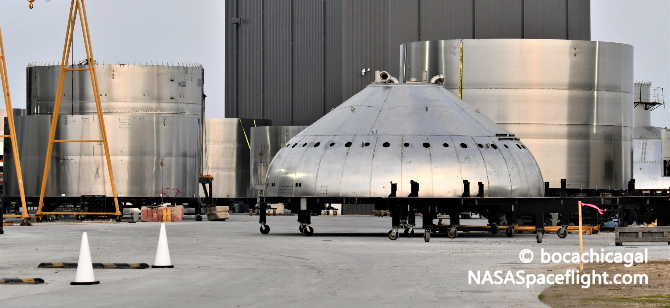 Starship Boca Chica 012521 (NASASpaceflight – bocachicagal) Super Heavy thrust dome practice 2 crop (c)