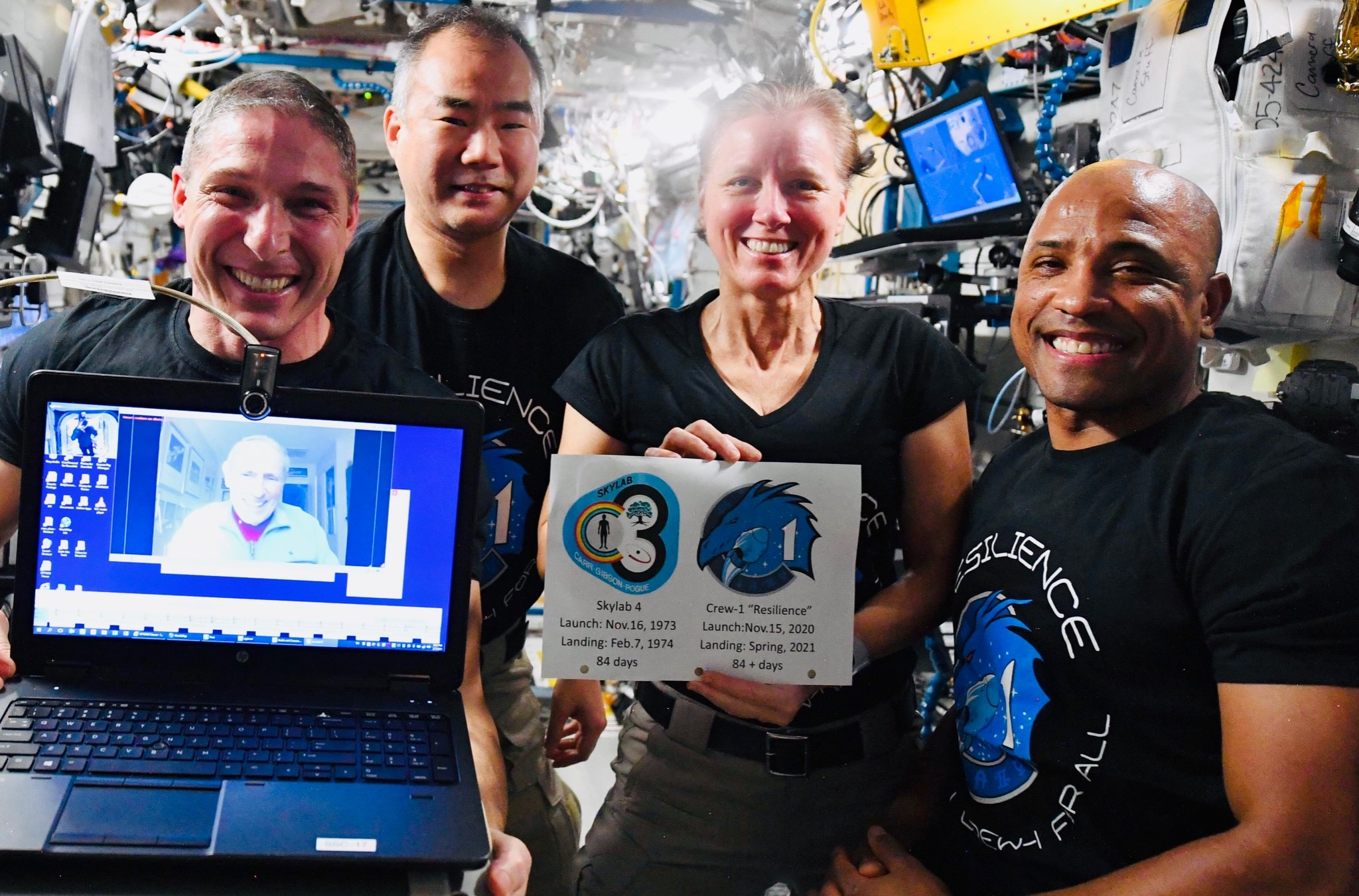 Crew Dragon C207 Crew-1 ISS 020721 (NASA) Hopkins Glover Noguchi Walker 1 crop