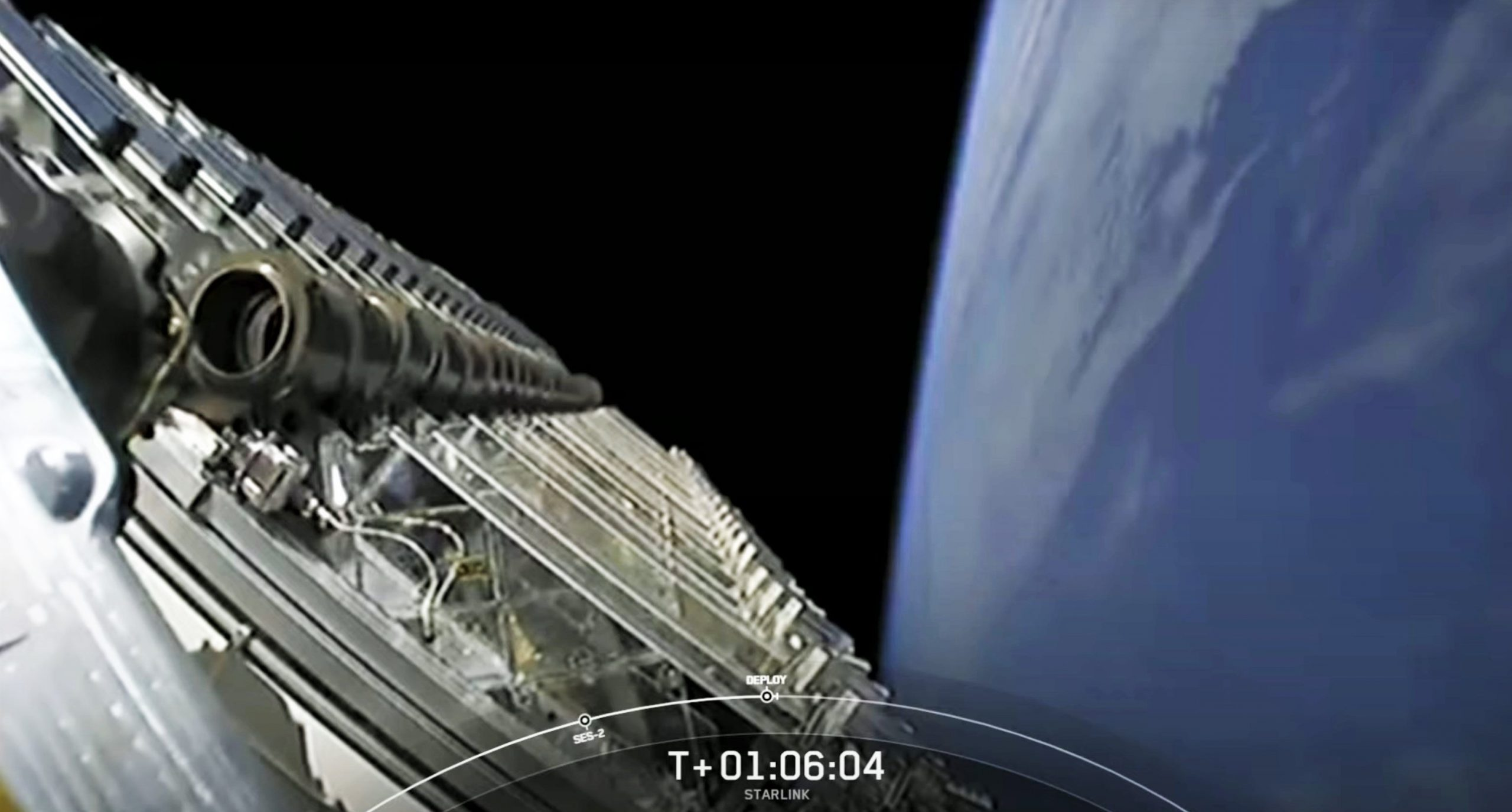Starlink-18 Falcon 9 B1060 020421 (SpaceX) webcast deploy 3