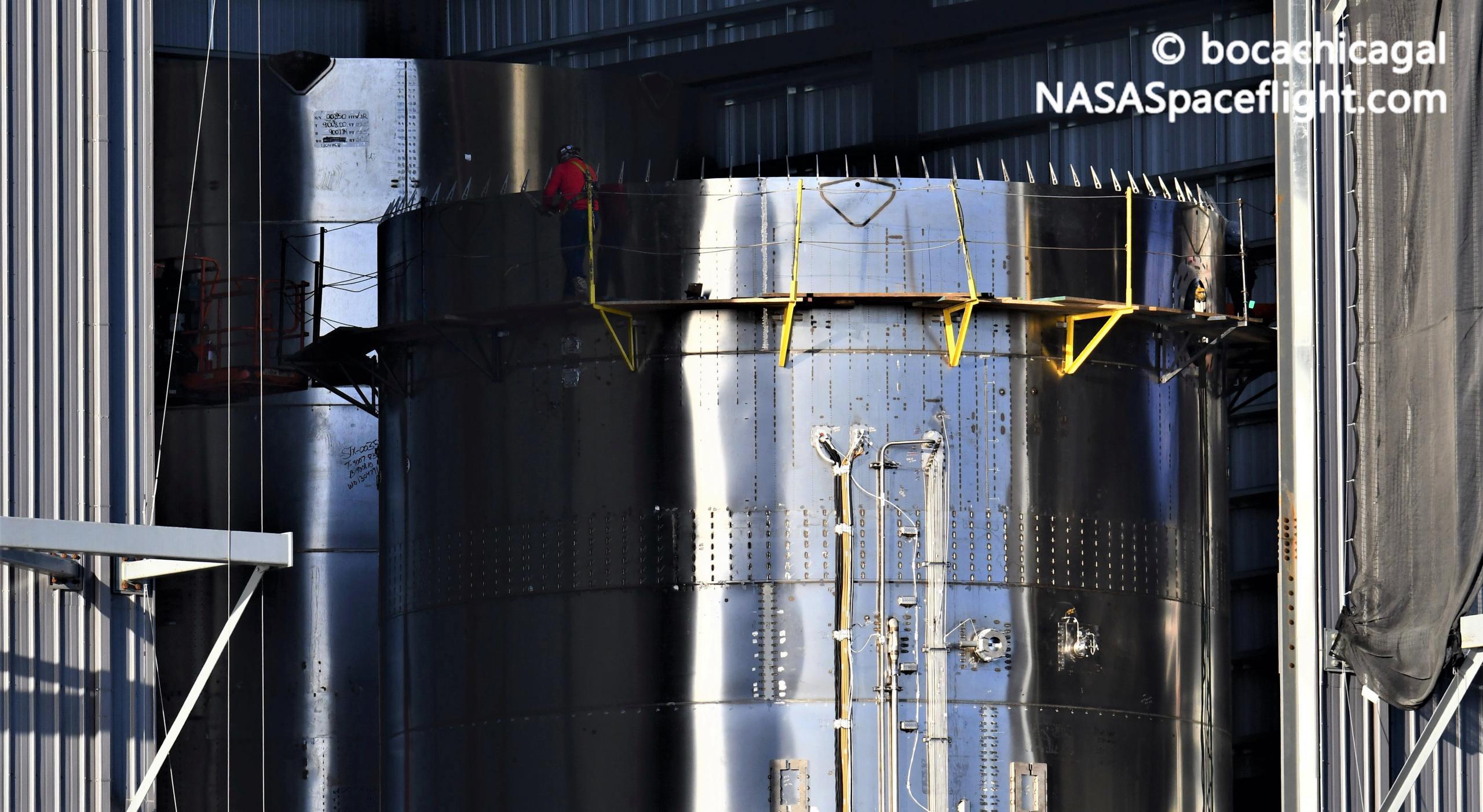 Starship Boca Chica 020721 (NASASpaceflight – bocachicagal) SN11 nose install + BN1 2 crop (c)