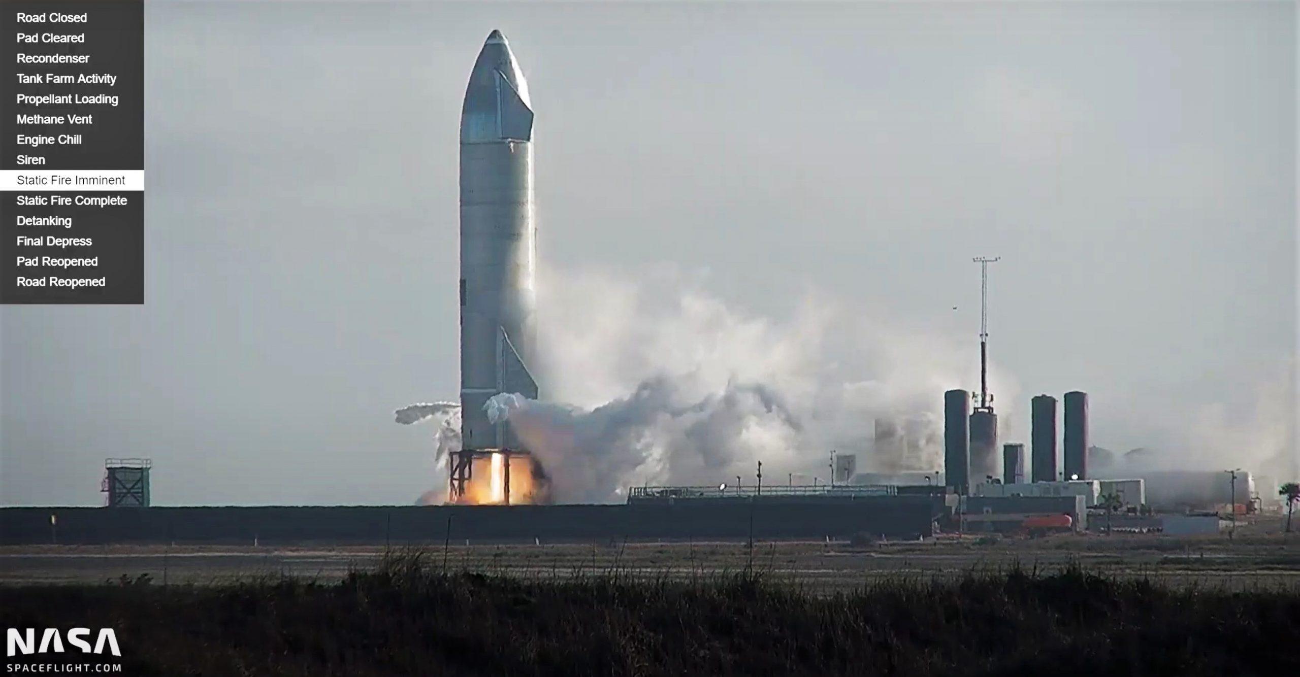 Starship Boca Chica 022321 (NASASpaceflight – bocachicagal) SN10 static fire 3