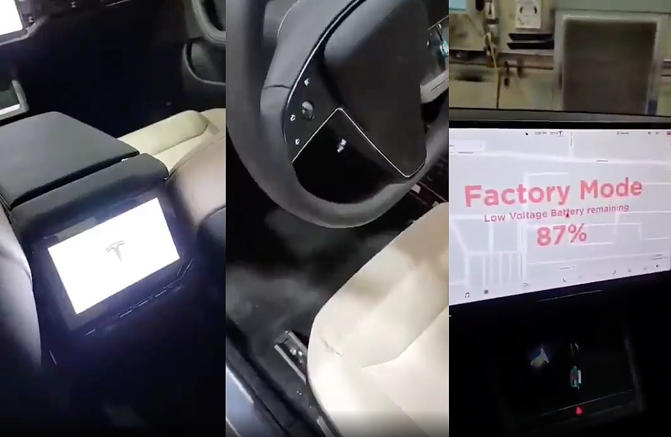 photo of Tesla Model S refresh quick interior look shows 8″ 2nd-row screen, steering wheel buttons, 17″ display enabled image