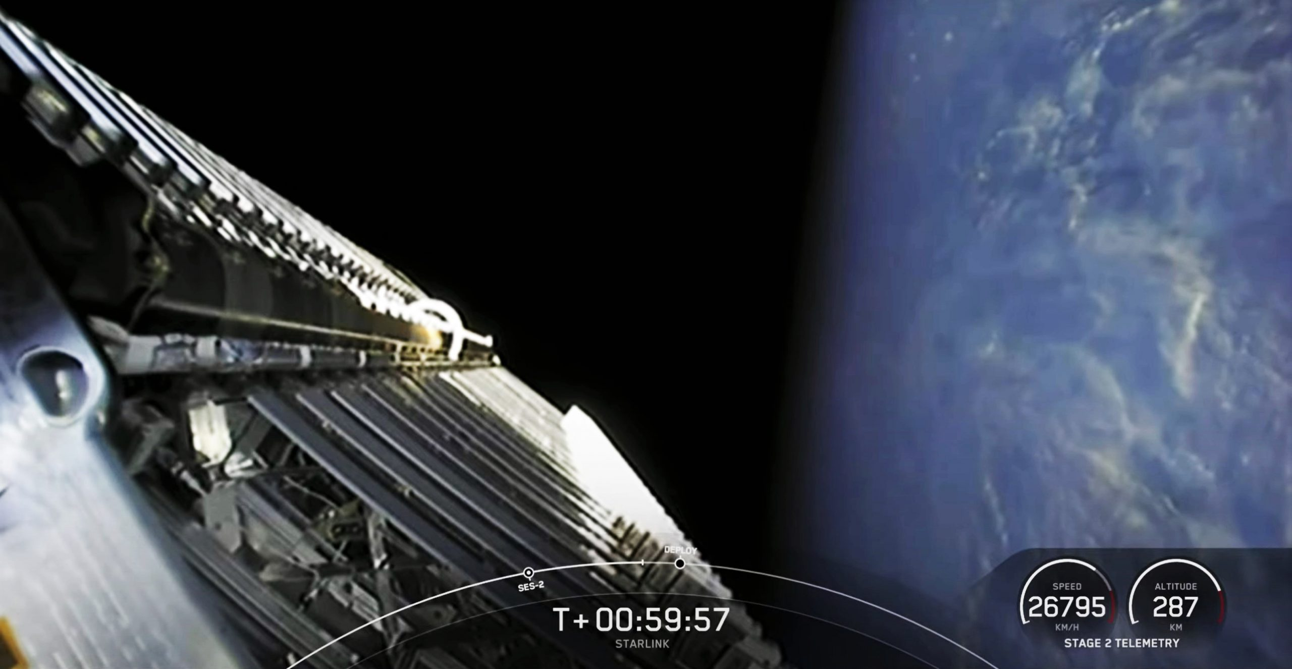 Starlink-20 Falcon 9 B1058 LC-40 031121 webcast (SpaceX) deploy 2