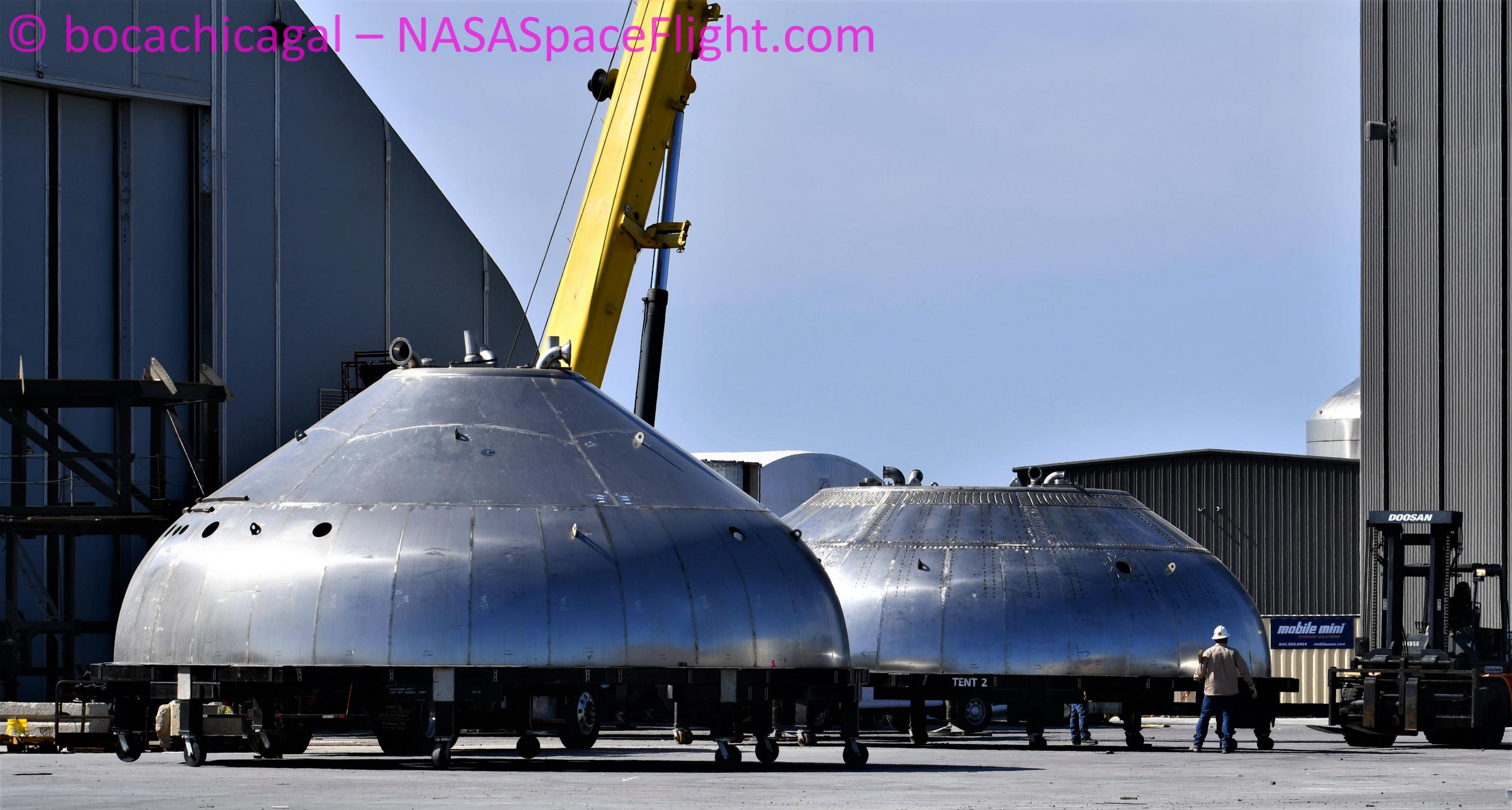 Starship Boca Chica 020721 (NASASpaceflight – bocachicagal) BN1 thrust dome + test dome 1 crop (c)