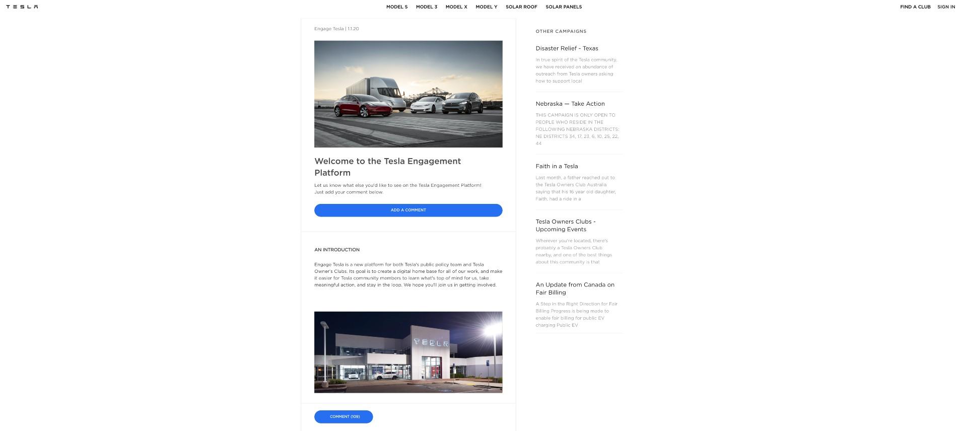 tesla-engage-platform-website