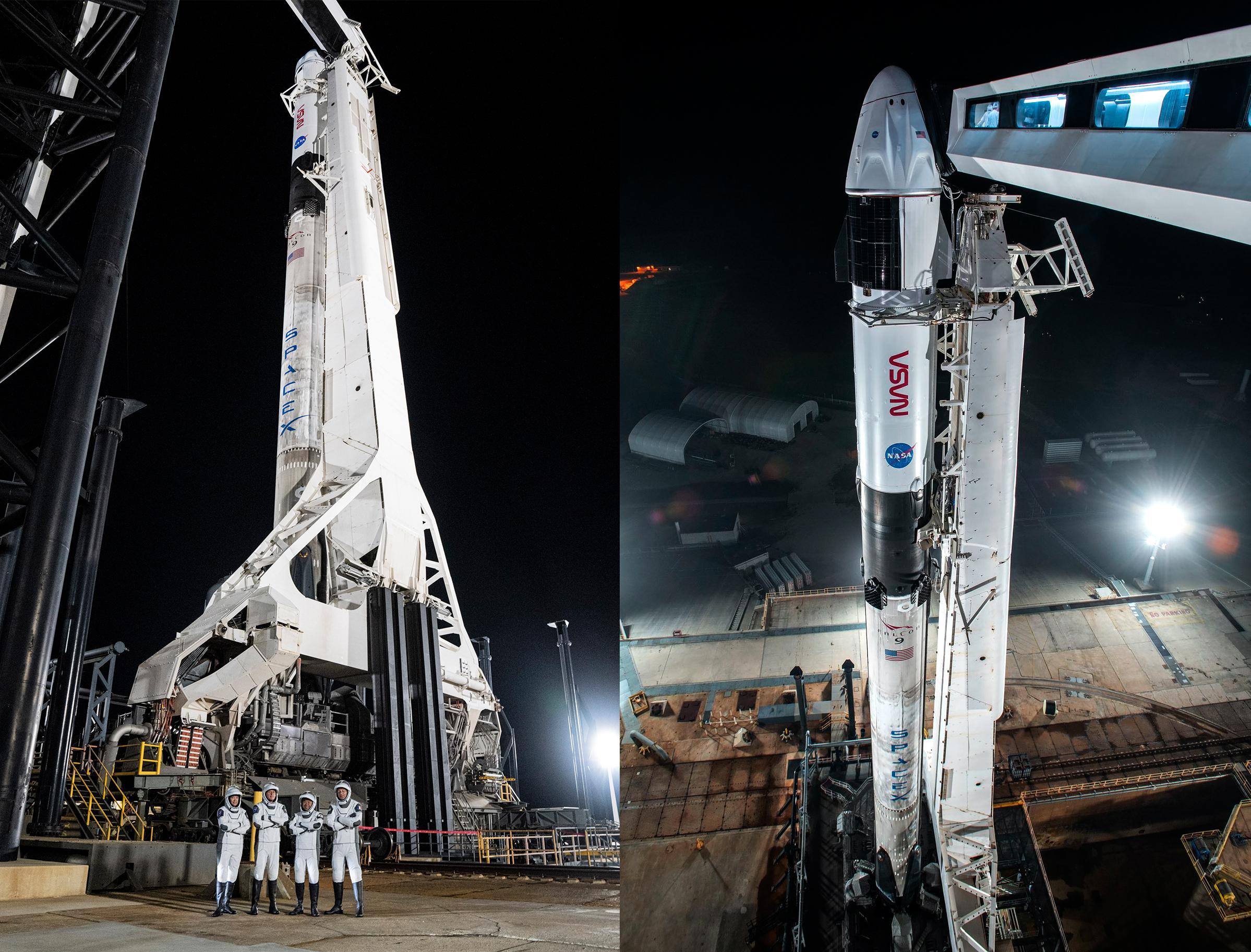 Crew-2 Crew Dragon C206 Falcon 9 B1061 39A 041621 (SpaceX) vertical (c)