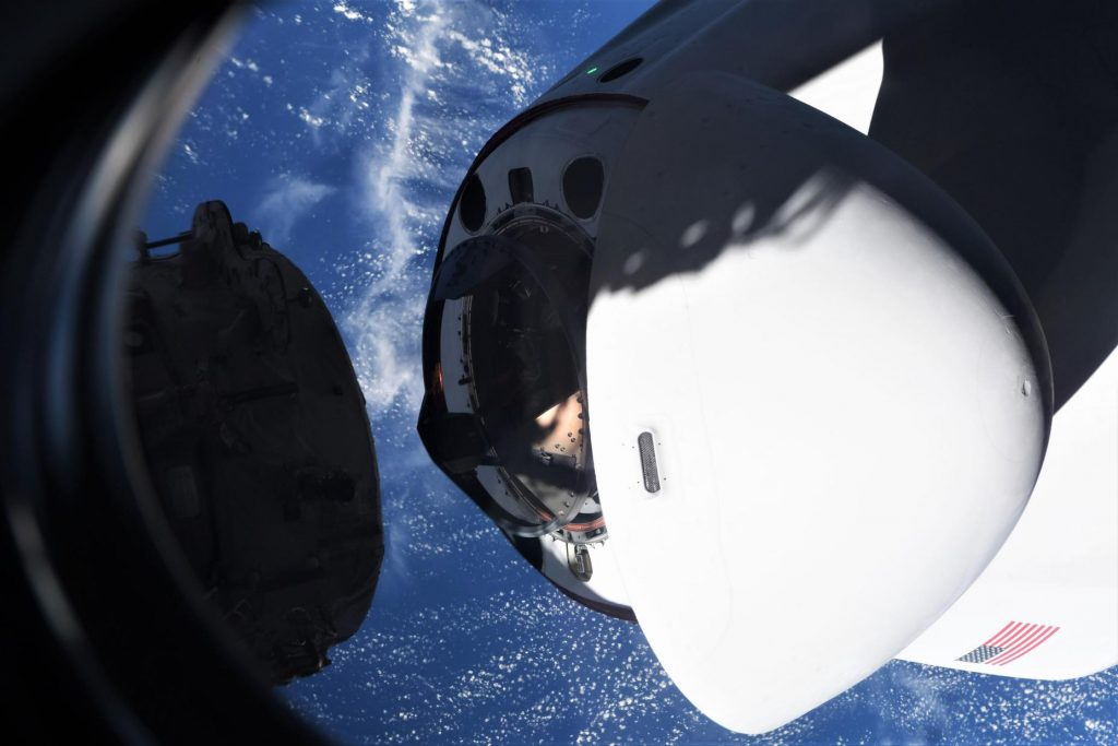 - Crew 2 Crew Dragon C206 ISS arrival 042421 Mike Hopkins NASA C207 view 2 c 1024x683 - Dragon aces third astronaut launch, docks with space station