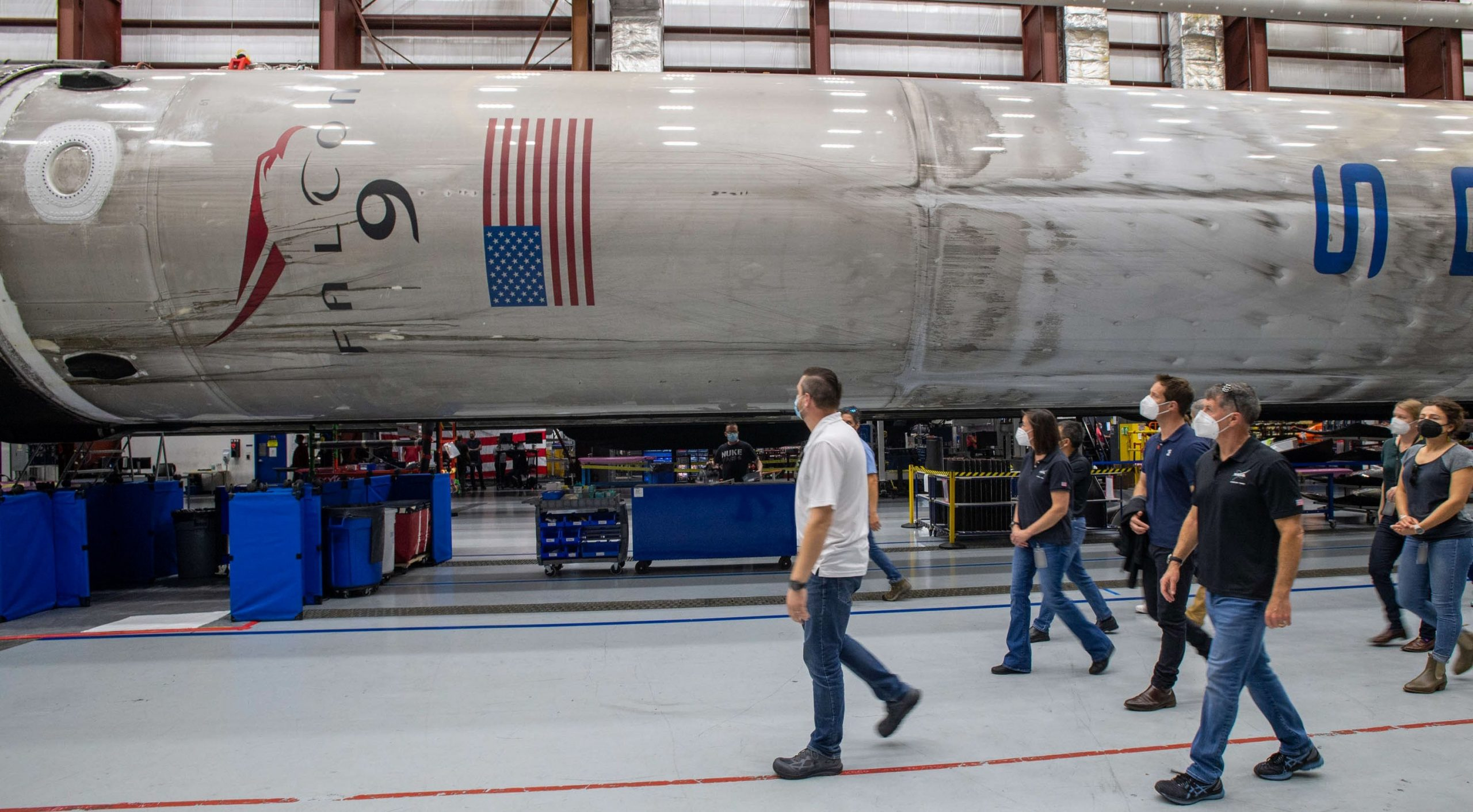 Crew-2 Falcon 9 B1061 39A hangar tour Pesquet Kimbrough Hoshide McArthur 2021 (SpaceX) 1 c