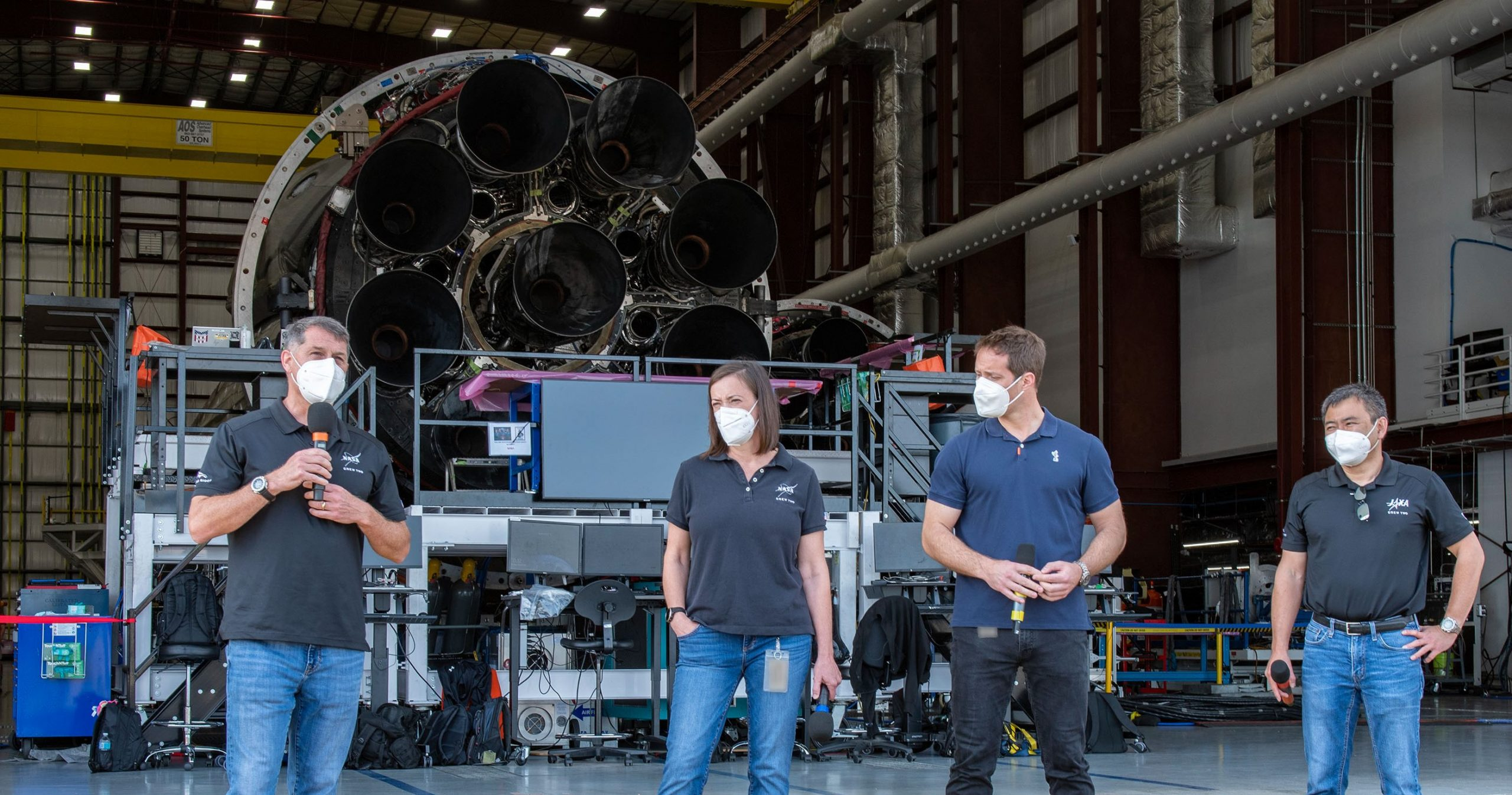Crew-2 Falcon 9 B1061 39A hangar tour Pesquet Kimbrough Hoshide McArthur 2021 (SpaceX) octaweb 1 crop