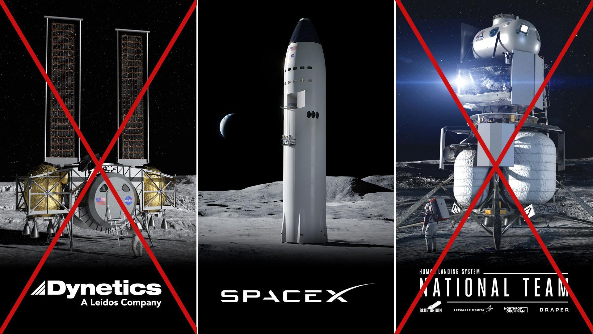 Dynetics SpaceX Blue Origin Natl Team HLS landers (NASA) 1 downselect