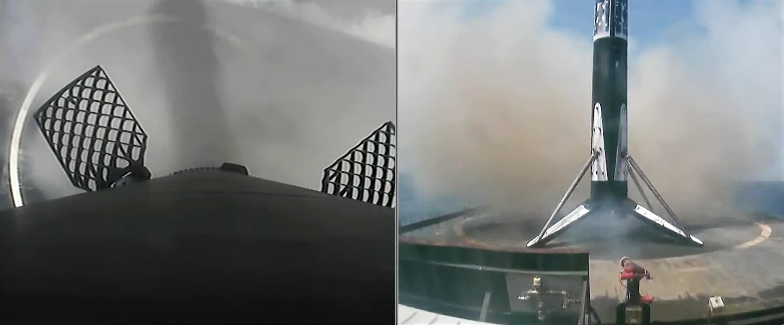 Starlink-23 Falcon 9 B1058 LC-40 040721 webcast (SpaceX) landing 1 crop (c)