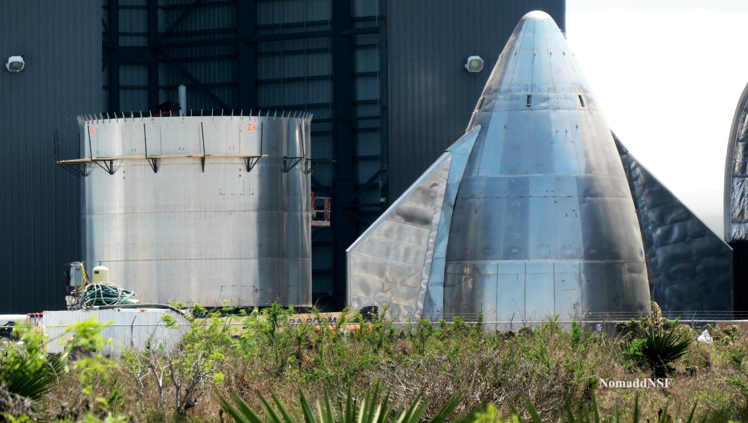 Starship Boca Chica 032721 (NASASpaceflight – Nomadd) SN15 nose stack prep 2 edit (c)