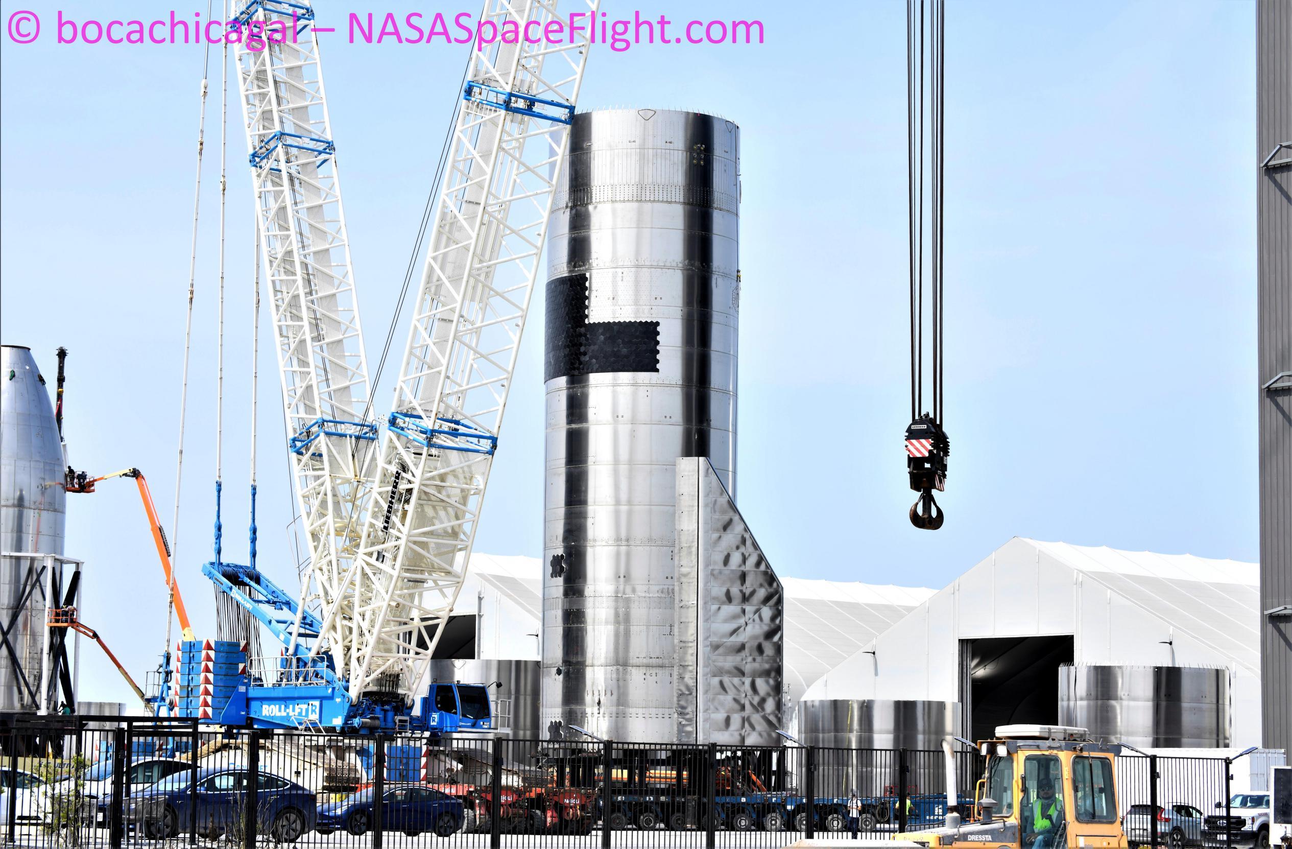 Starship Boca Chica 033121 (NASASpaceflight – bocachicagal) SN15 high bay move 1 (c)