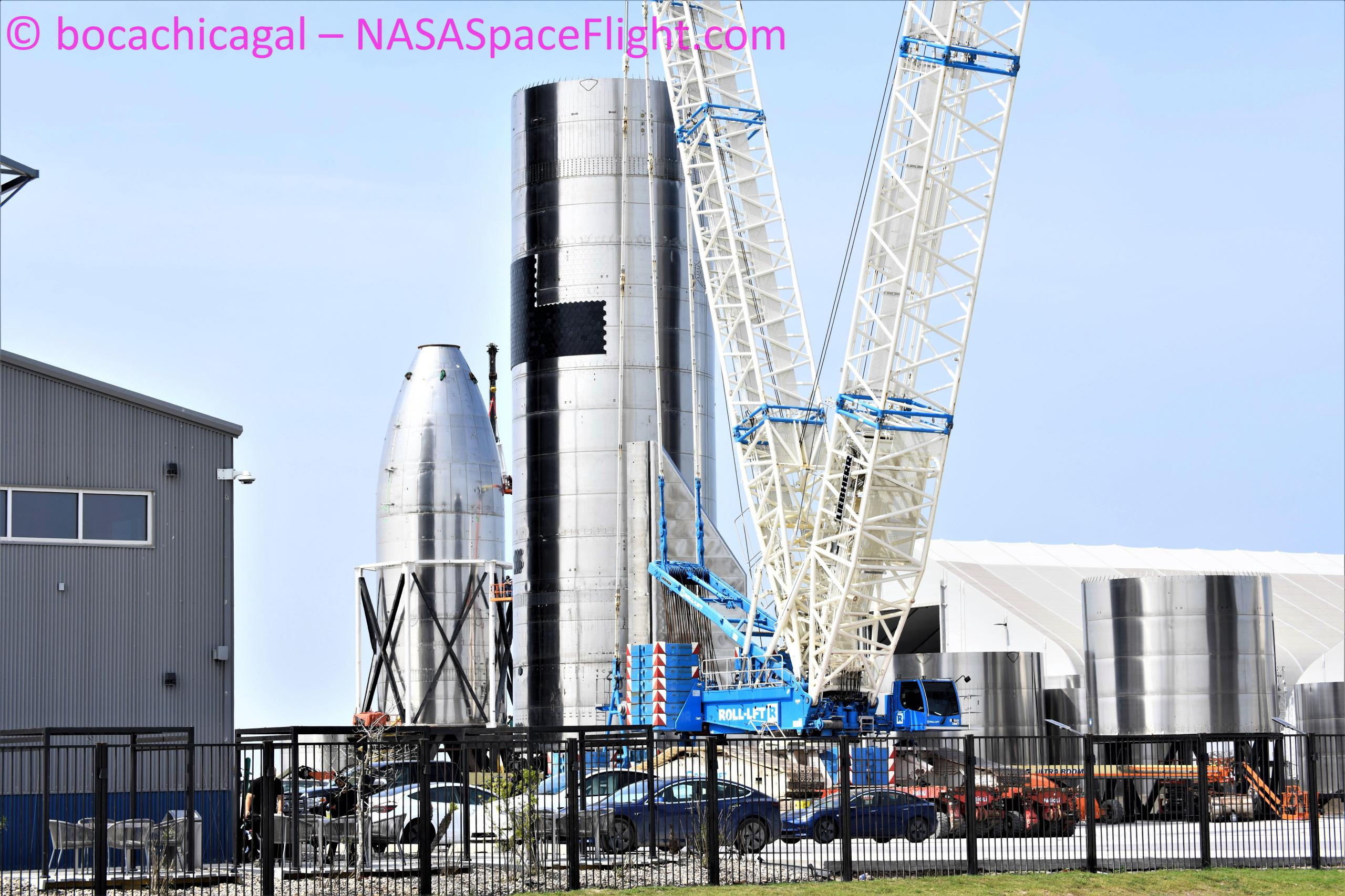 Starship Boca Chica 033121 (NASASpaceflight – bocachicagal) SN15 high bay move 2 (c)