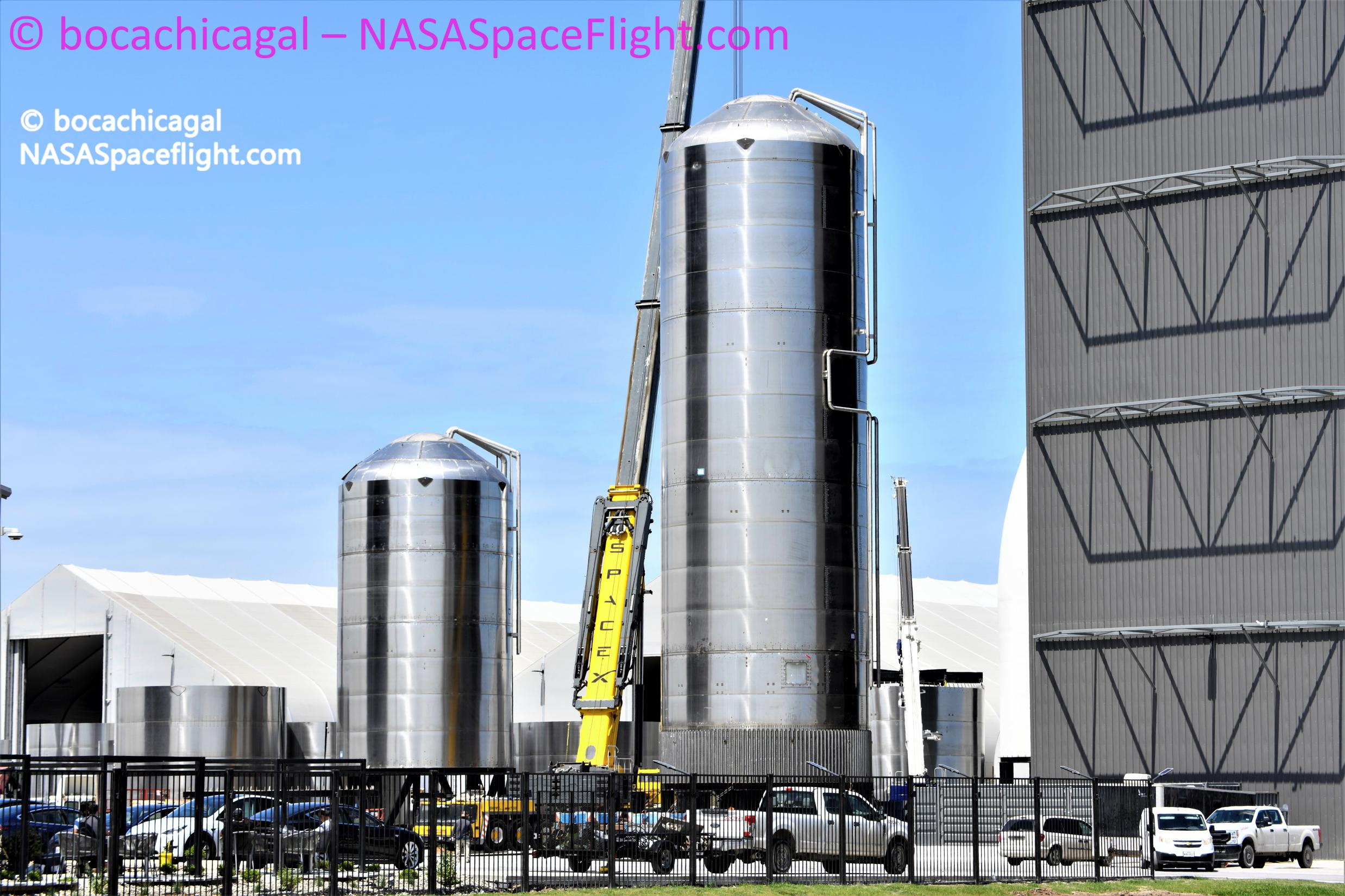 Starship Boca Chica 040521 (NASASpaceflight – bocachicagal) GSE1 rollout + GSE2 1 edit (c)