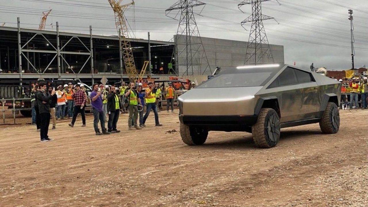 Tesla Cybertruck pays visit to Gigafactory Texas with Elon Musk behind the wheel
