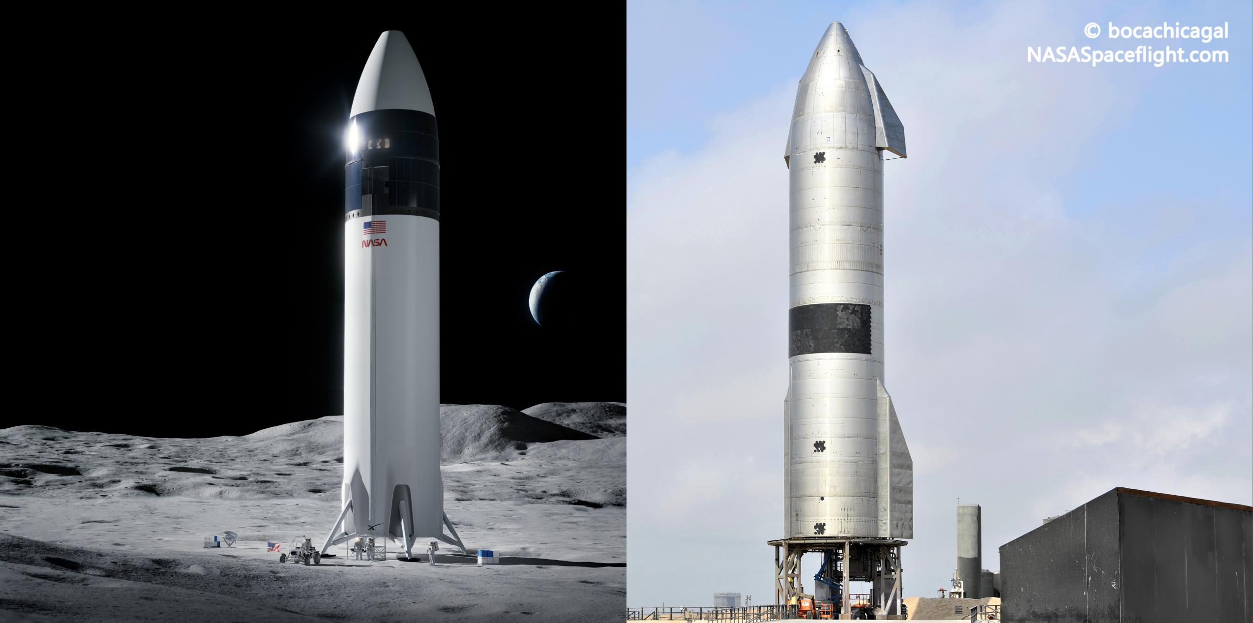 Lunar Starship vs SN15 (SpaceX – bocachicagal) 1 (c)