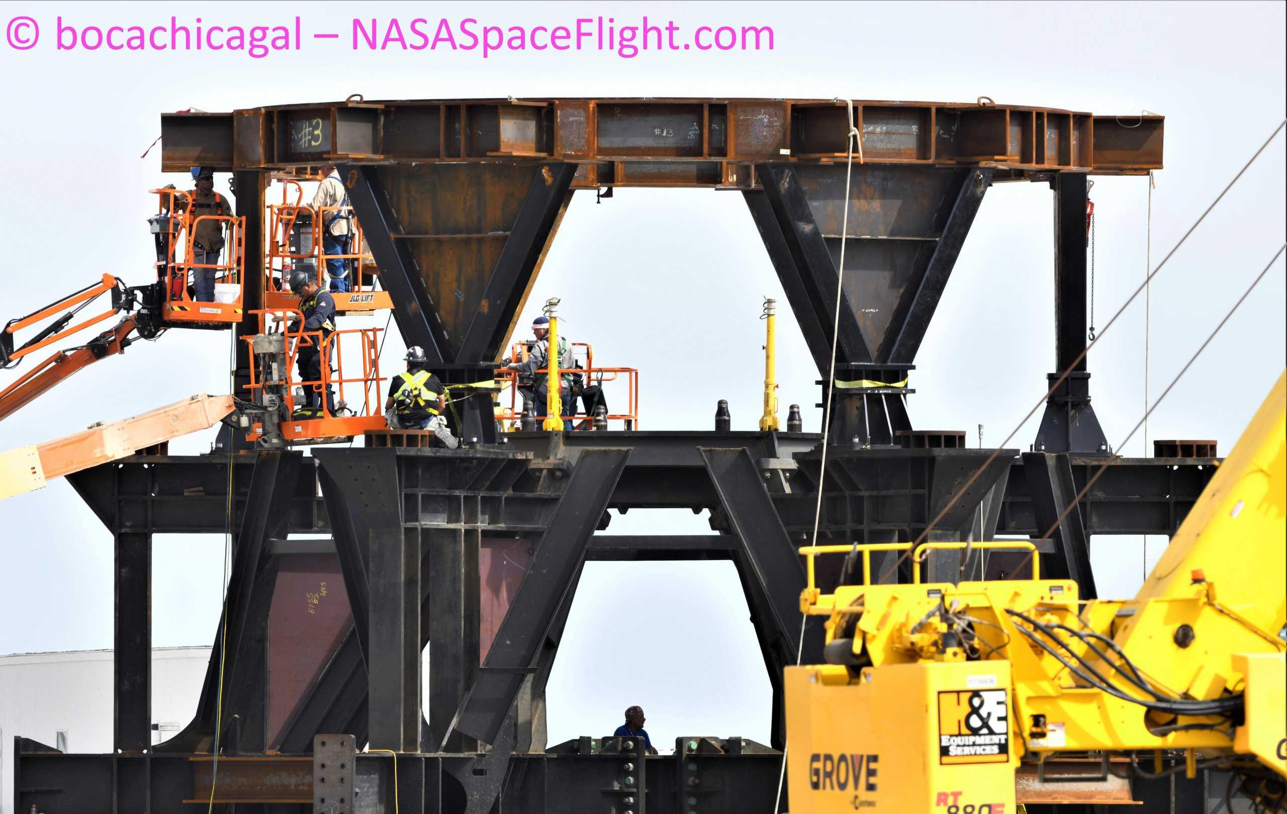 Starship Boca Chica 052521 (NASASpaceflight – bocachicagal) STA stand base work 1 (c)