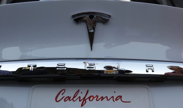 A Tesla Motors Inc Model X is seen at Tesla's introduction of its new battery swapping program in Hawthorne