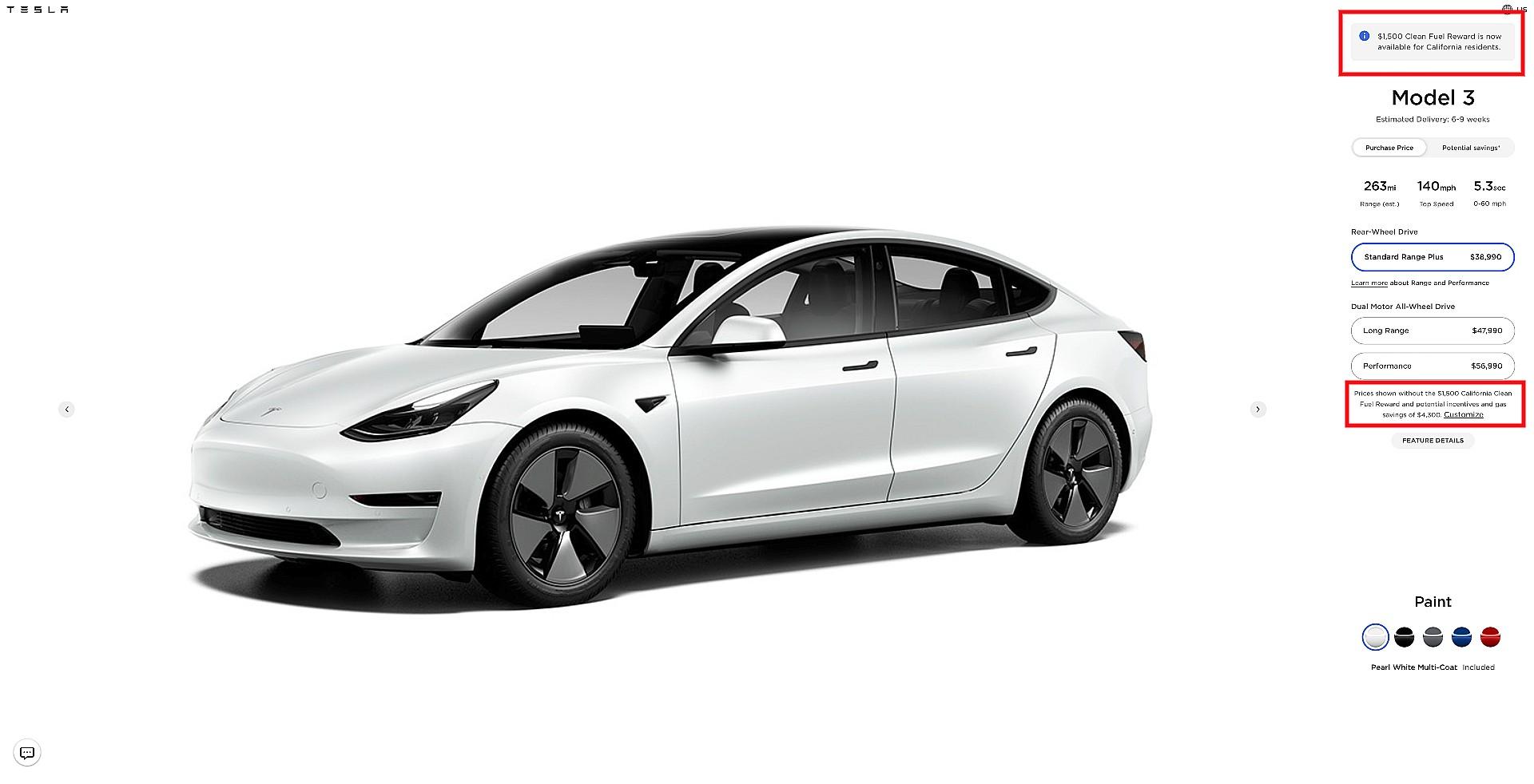 tesla-model-3-california-clean-fuel-reward