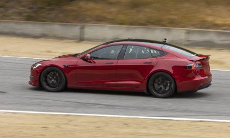 Tesla Model S Plaid track testing at Laguna Seca Raceway (May 14 2021, Credit: The Kilowatts)