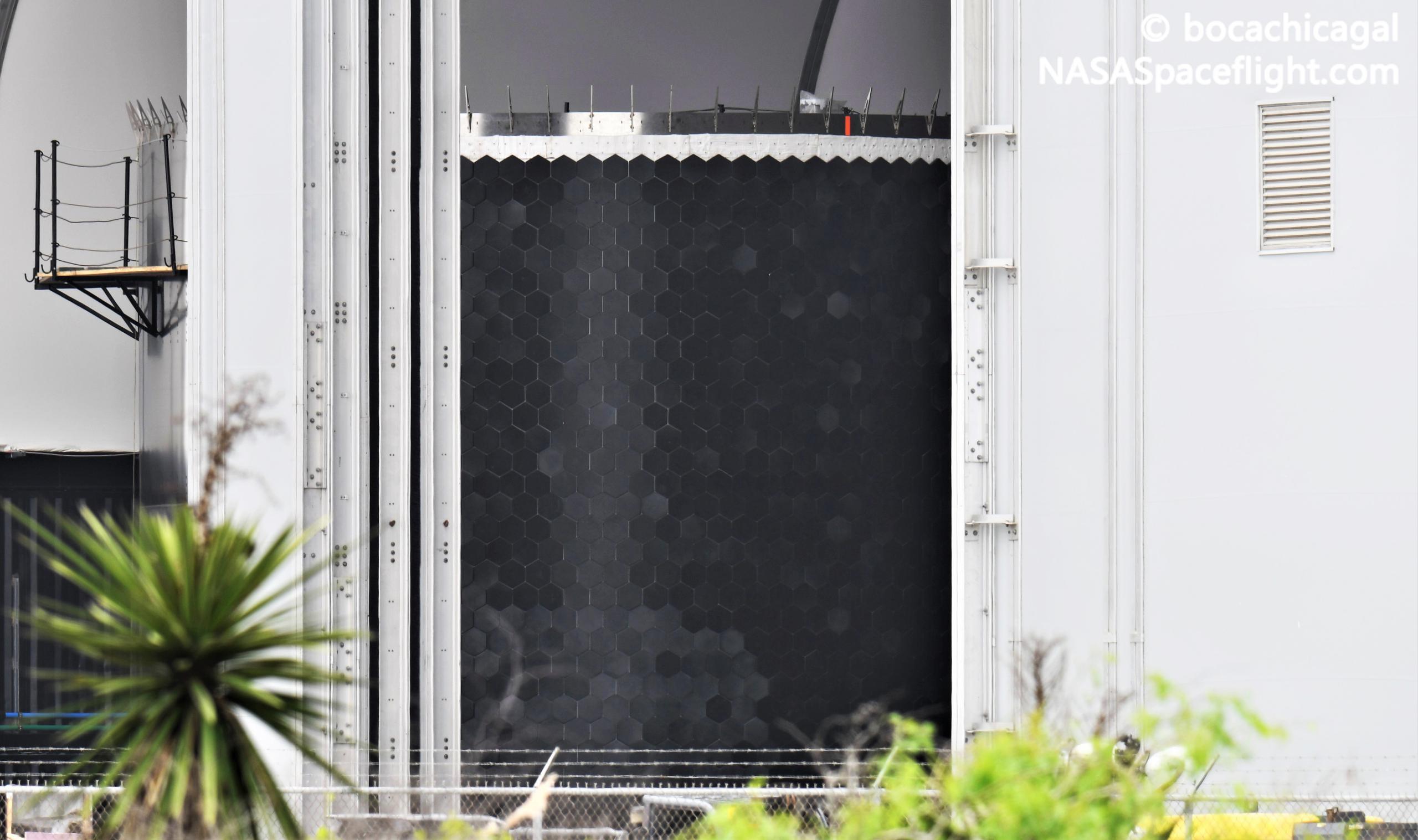 Starship Boca Chica 042321 (NASASpaceflight – bocachicagal) SN17 ring + heat shield 1 crop (c)