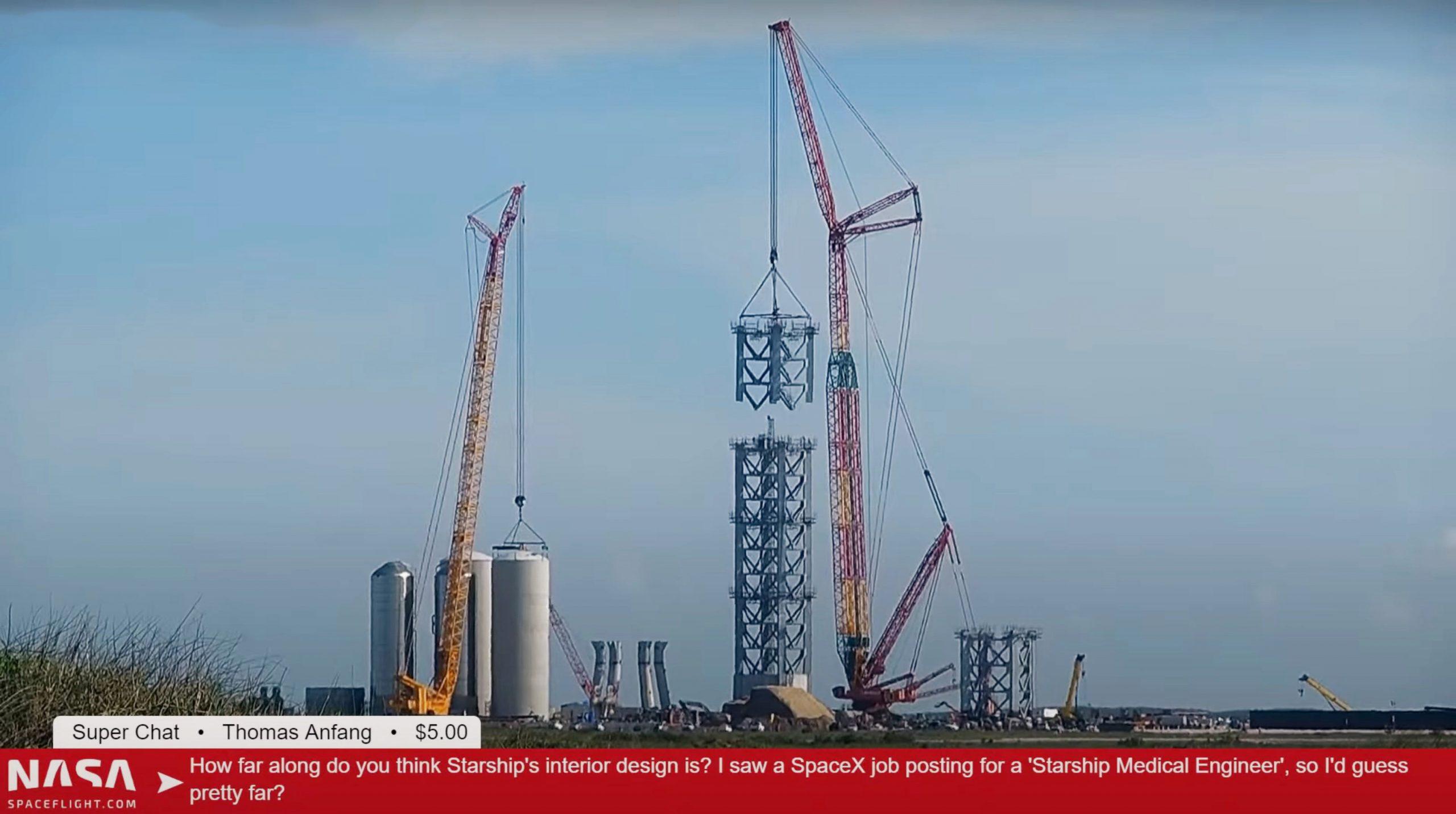 Starship Boca Chica 061321 (NASASpaceflight) tower stacking 3