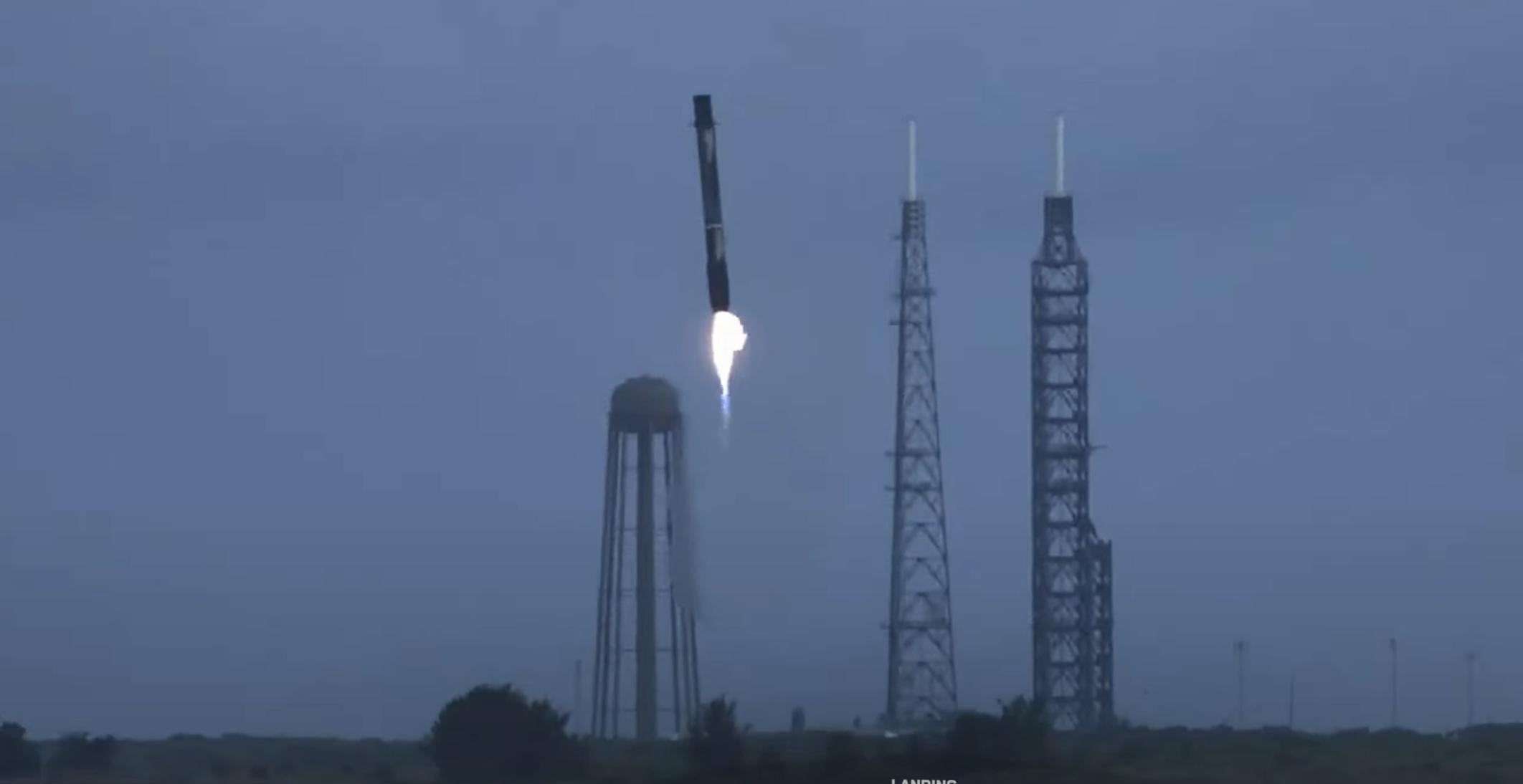 Transporter-2 Falcon 9 B1060 063021 webcast (SpaceX) landing + LC-36 1 crop