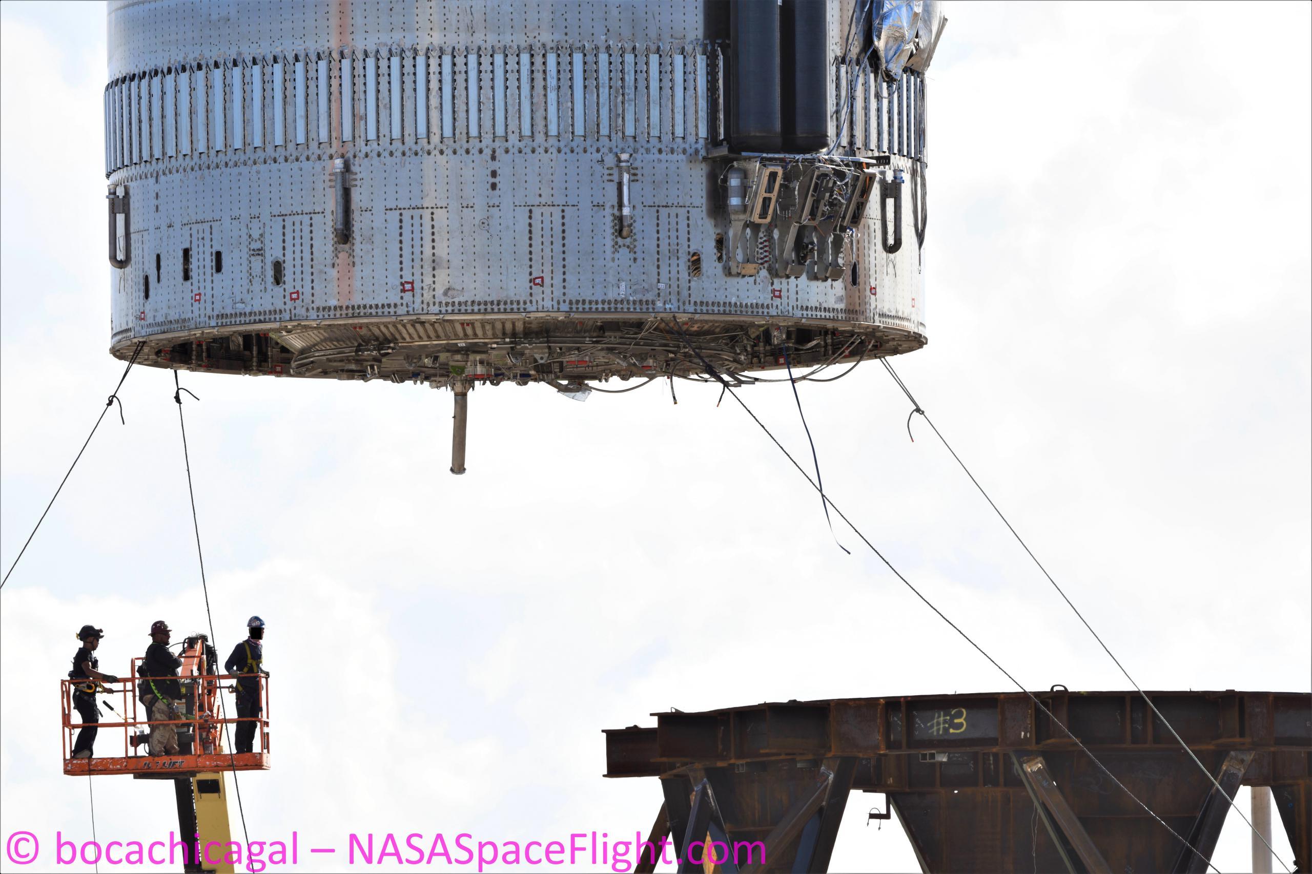 Starship Boca Chica 070121 (NASASpaceflight – bocachicagal) Booster 3 B3 pad install aft view 1 edit (c)