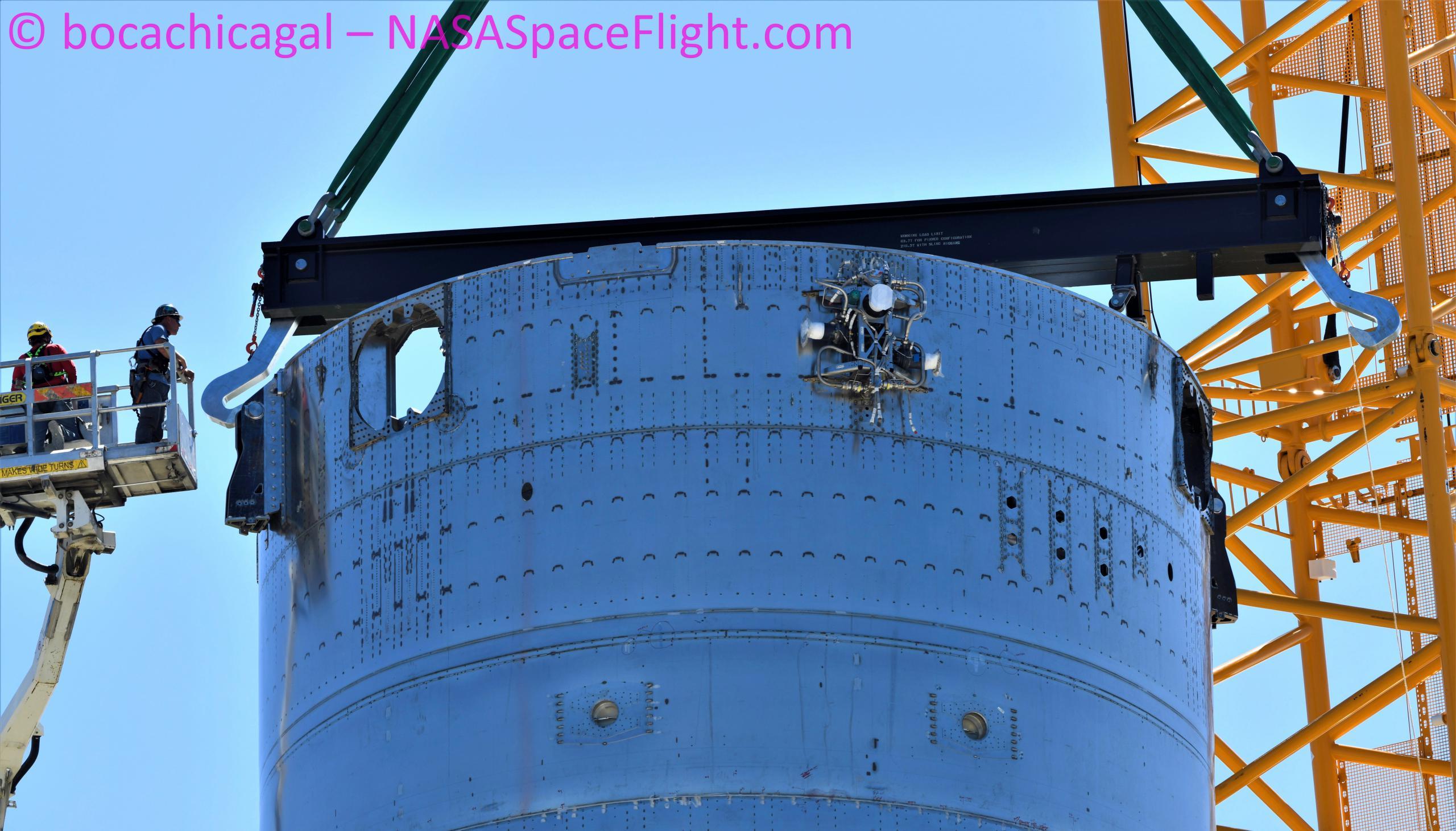 Starship Boca Chica 070121 (NASASpaceflight – bocachicagal) Booster 3 B3 pad install fwd view + thrusters 1 (c)
