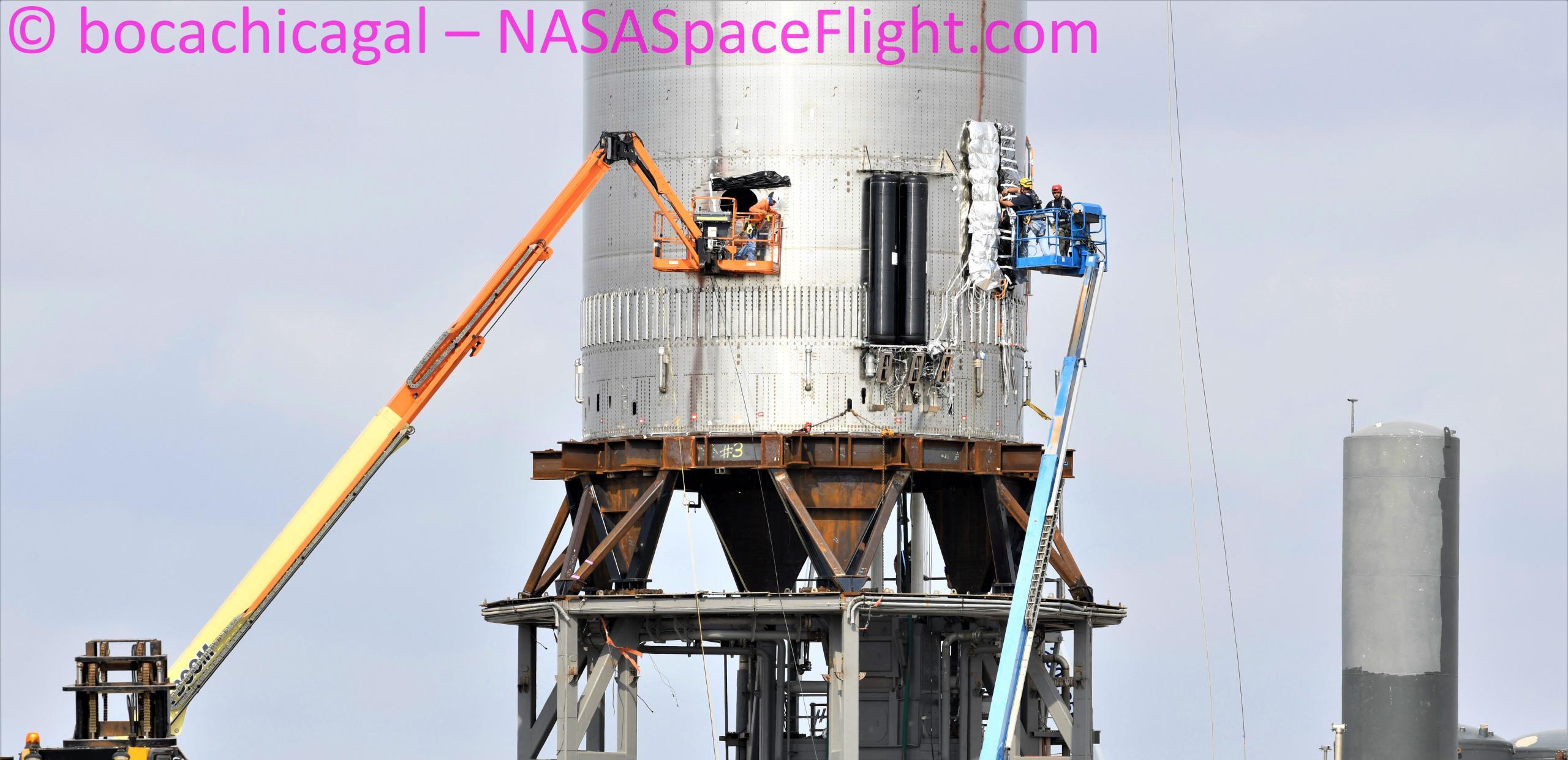 Starship Boca Chica 070621 (NASASpaceflight – bocachicagal) B3 pad work 1 crop (c)