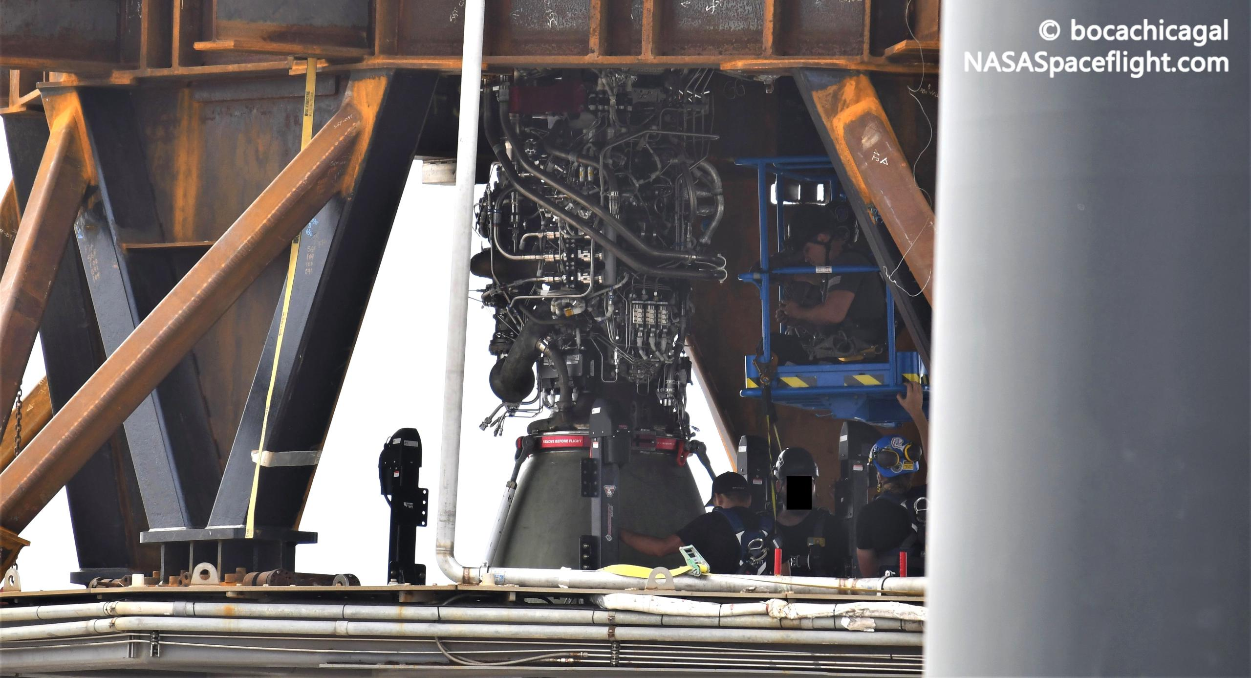 SpaceX begins installing Raptor engines on first Super Heavy booster