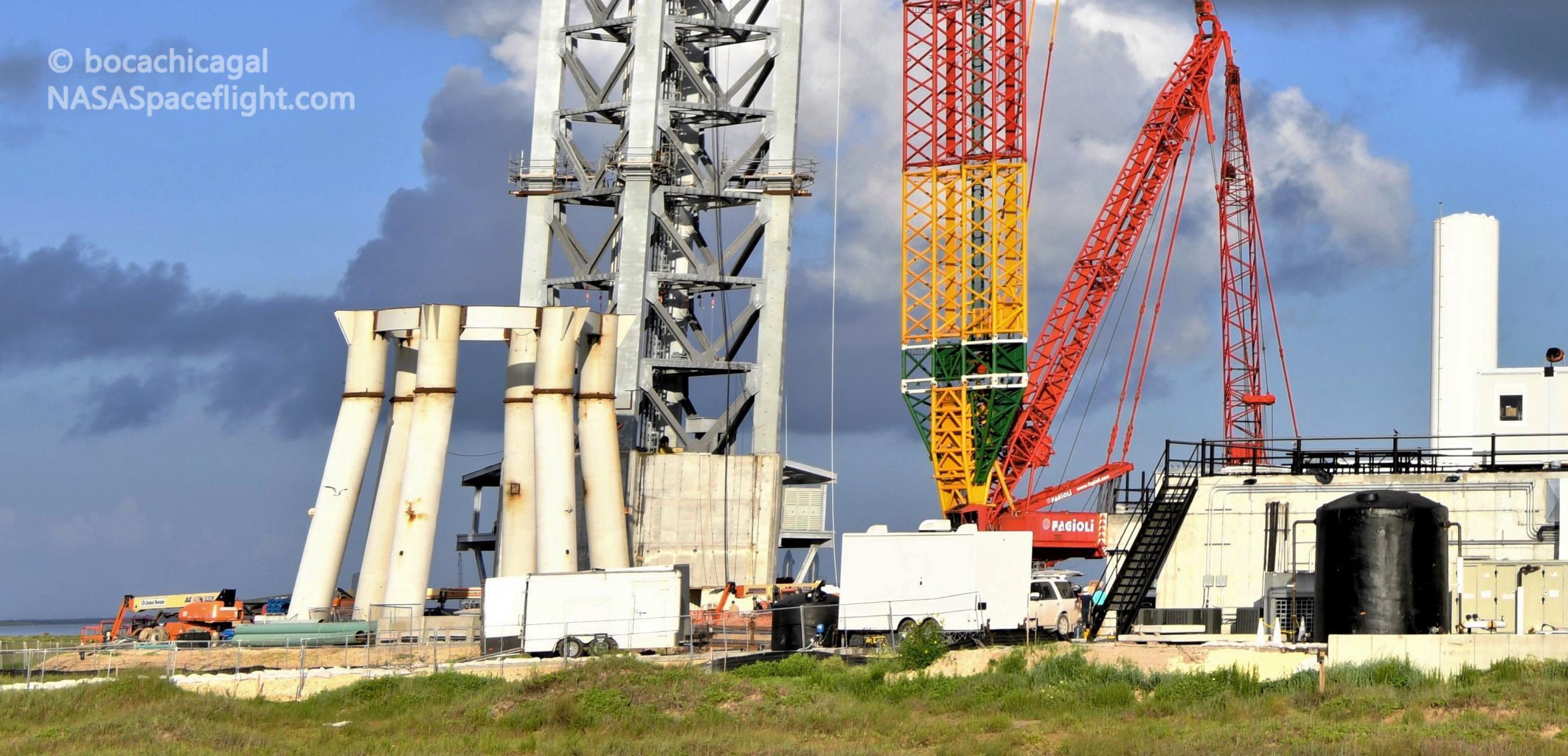 Starship Boca Chica 071921 (NASASpaceflight – bocachicagal) orbital pad crane tower mount GSE 1 crop (c)