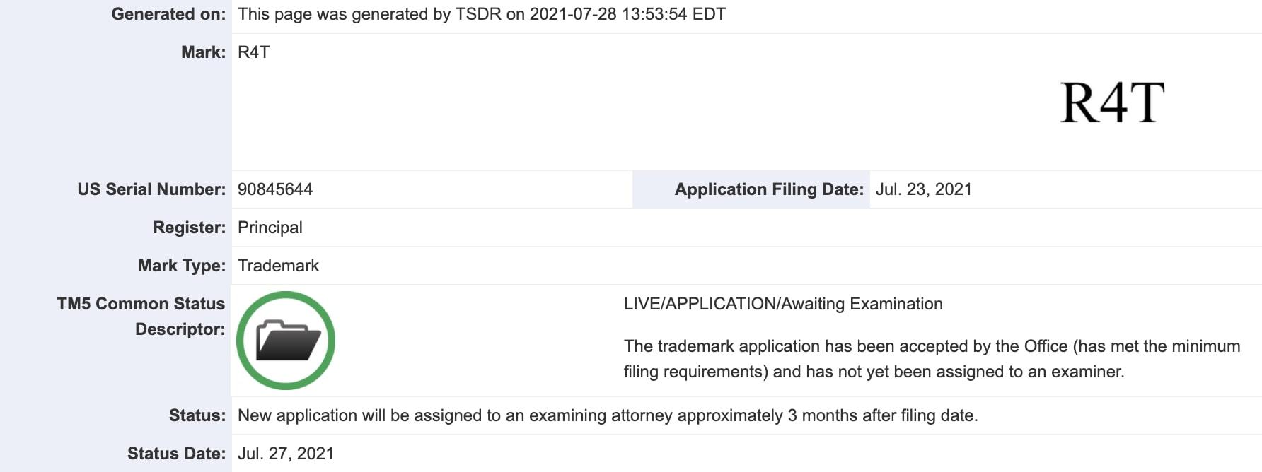 rivian-r4t-trademark-filing
