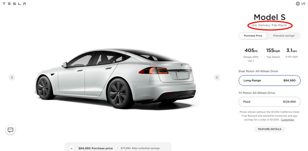 Tesla Model S Long Range delivery estimates slip to early 2022