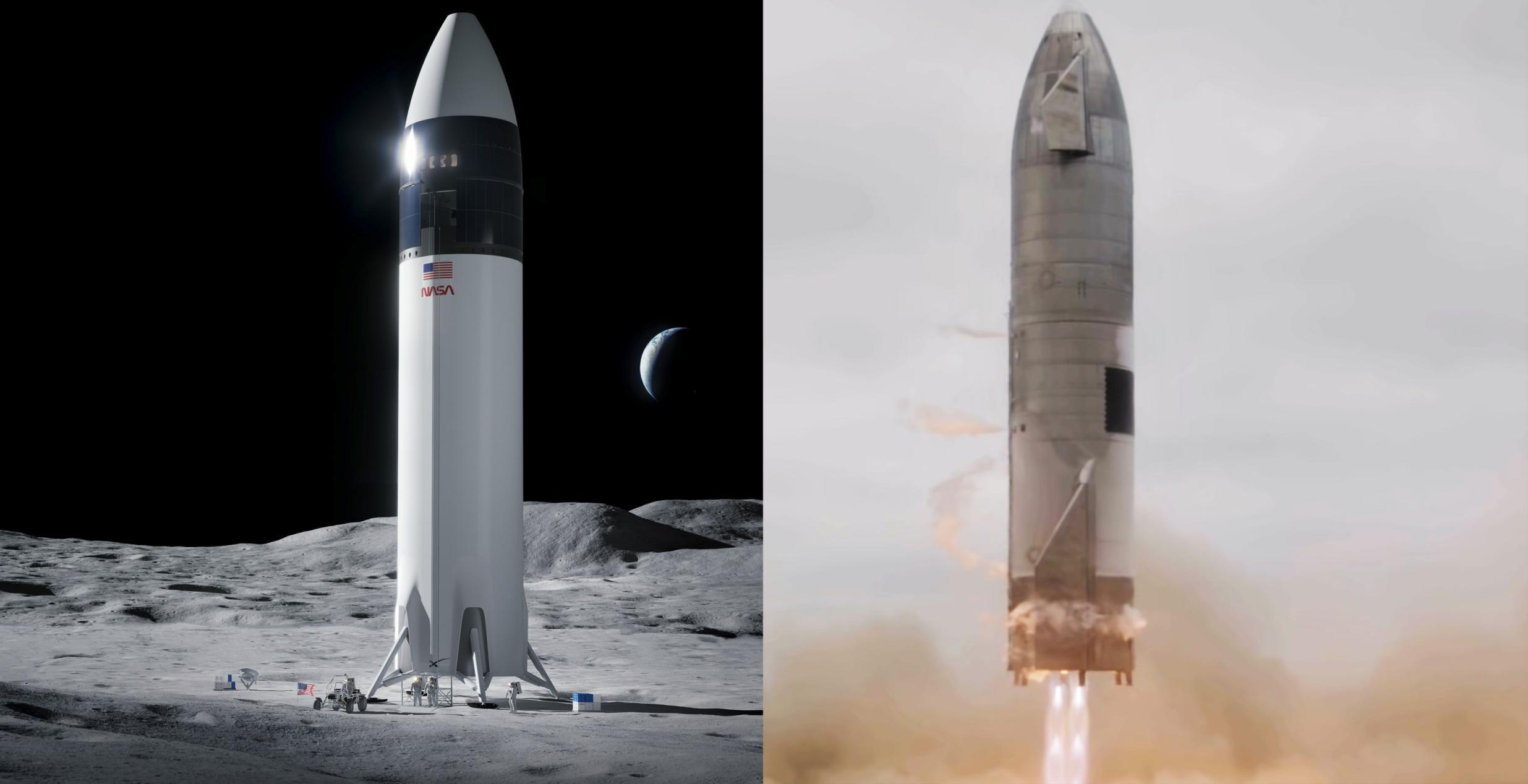 Lunar Starship Artemis + SN15 landing (SpaceX) 2021 render 1x