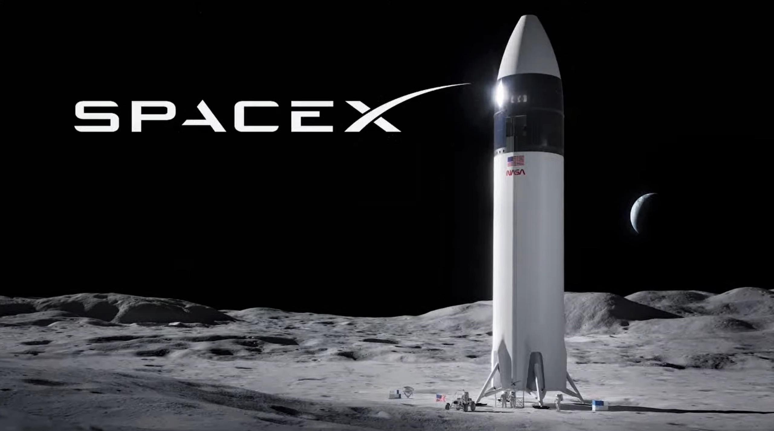 Lunar Starship Artemis (SpaceX) 2021 render 1 (c)