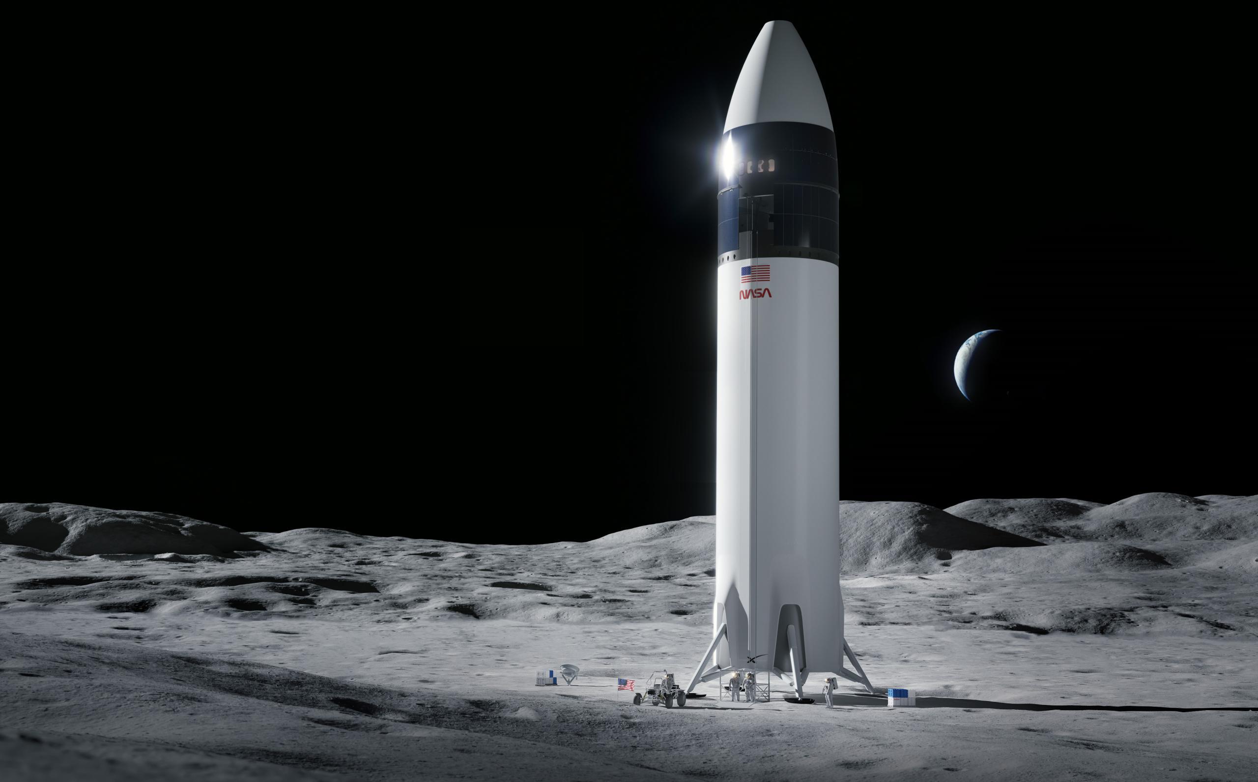 Lunar Starship Artemis (SpaceX) 2021 render 2 crop (c)