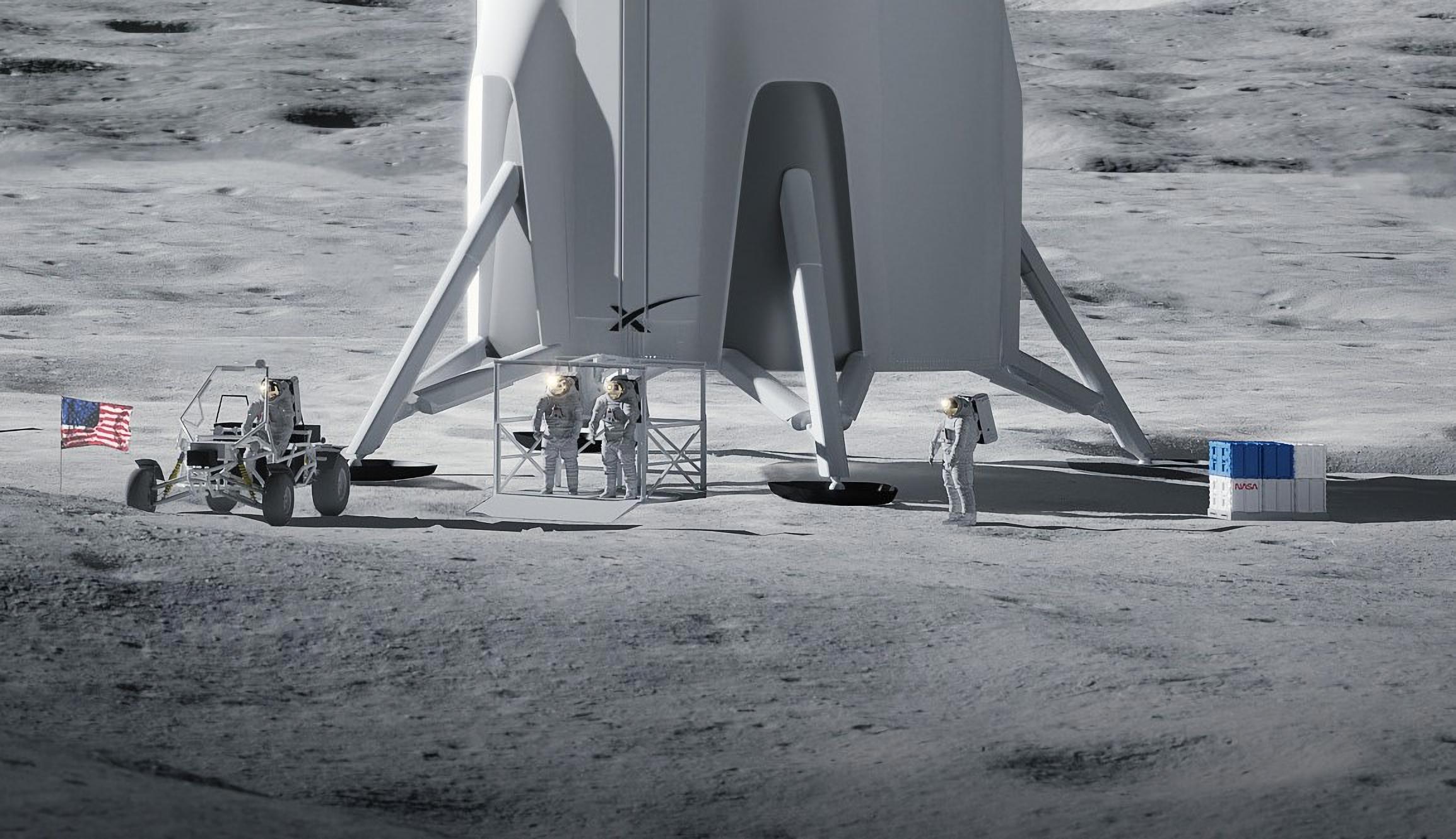 Lunar Starship Artemis (SpaceX) 2021 render 2 suits 2X