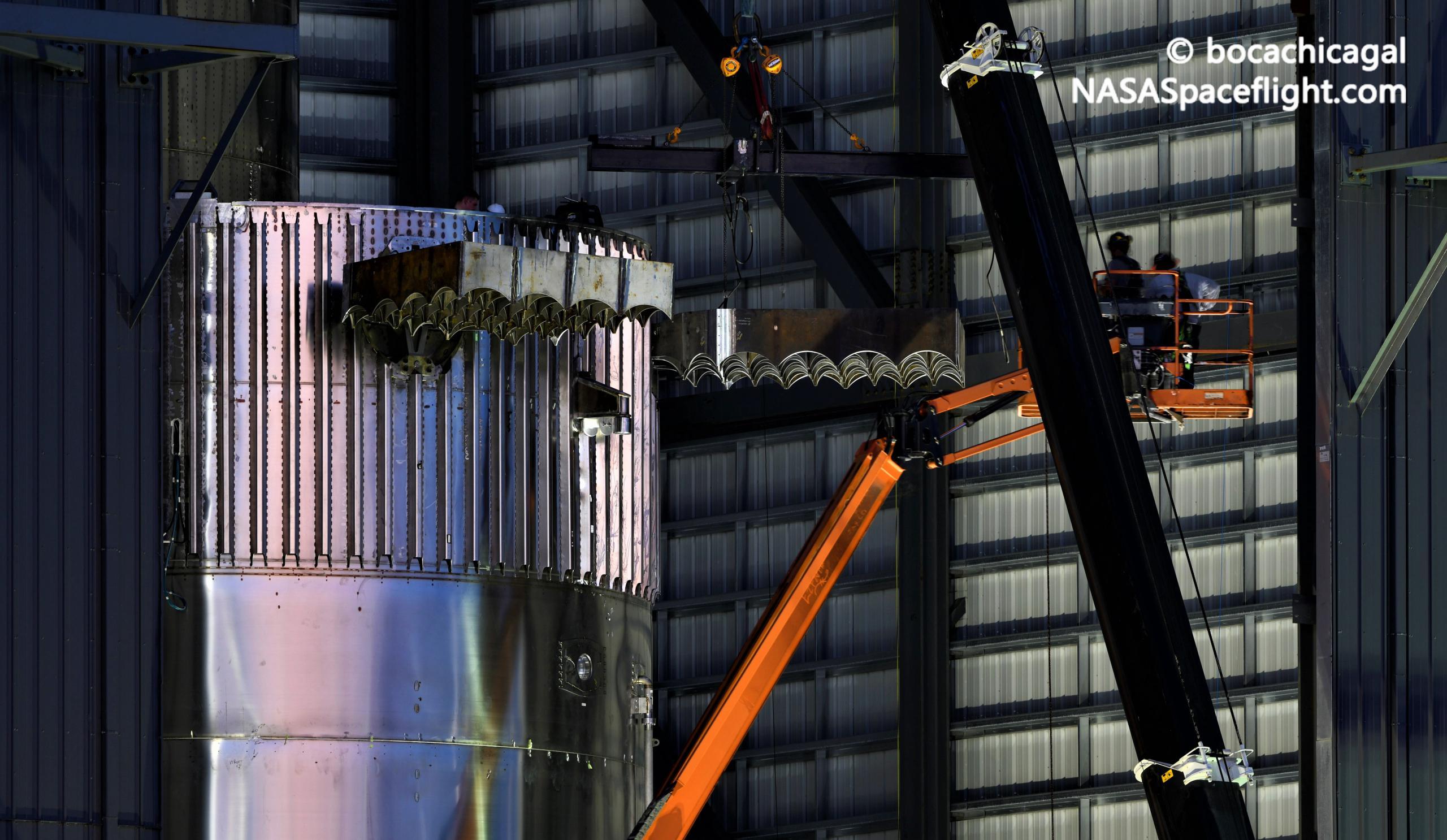 Starship Boca Chica 080121 (NASASpaceflight – bocachicagal) B4 grid fin install 1 crop (c)
