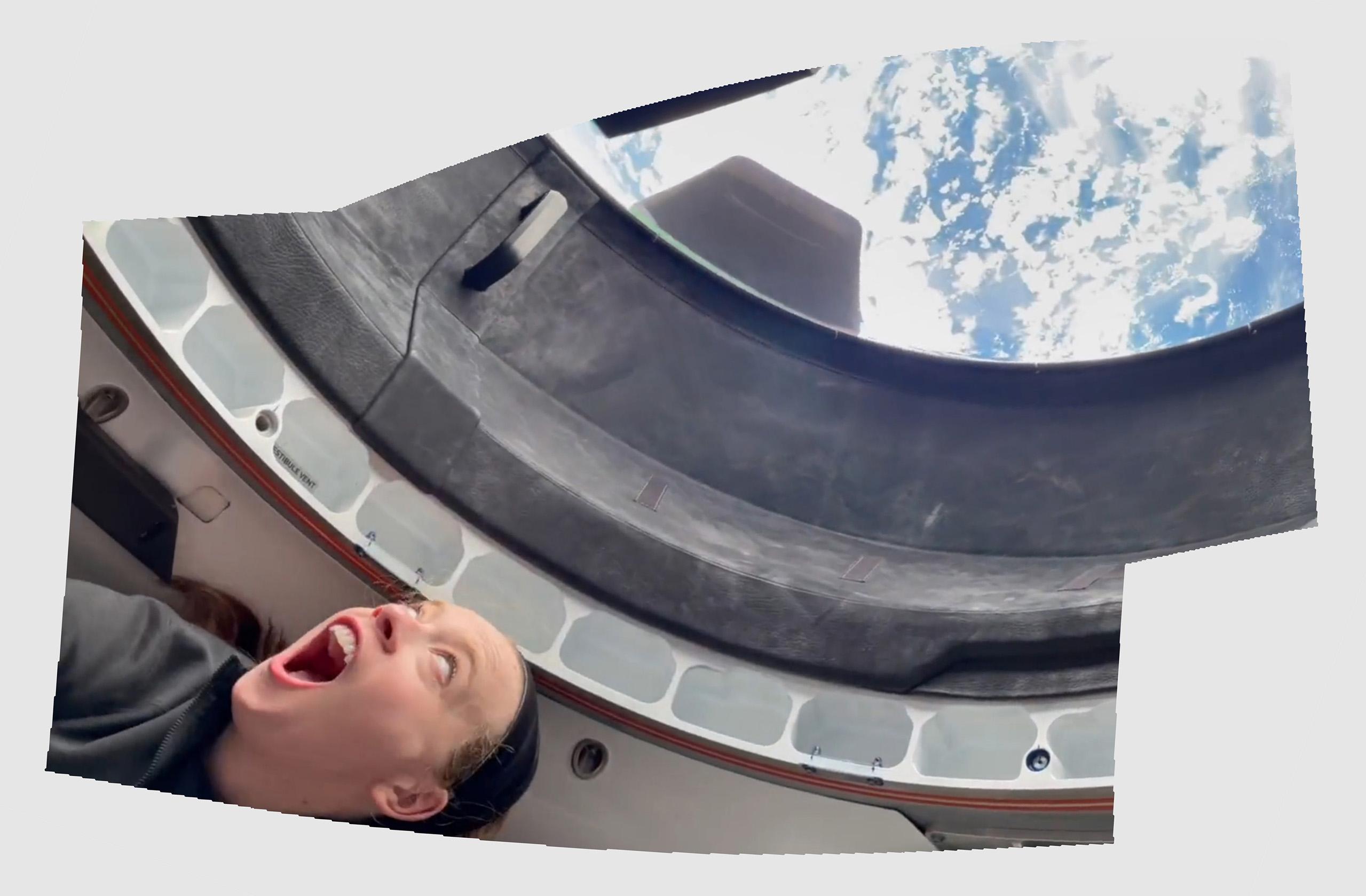 Inspiration4 Dragon C207 091621 on-orbit (I4) first cupola view Hayley pano 2 crop (c)
