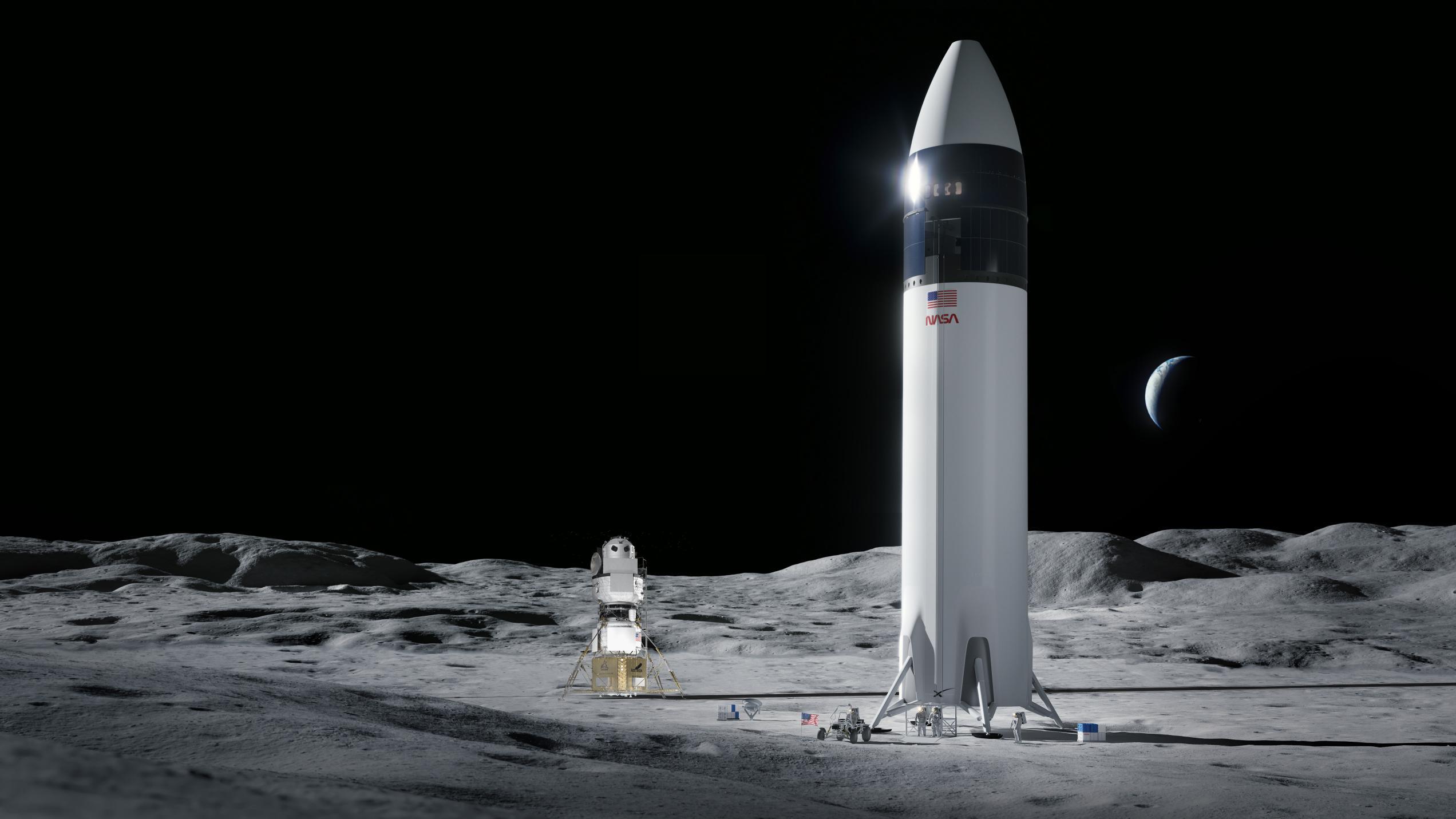 Lunar Starship Artemis (SpaceX) 2021 vs National Team lander 1 (c)