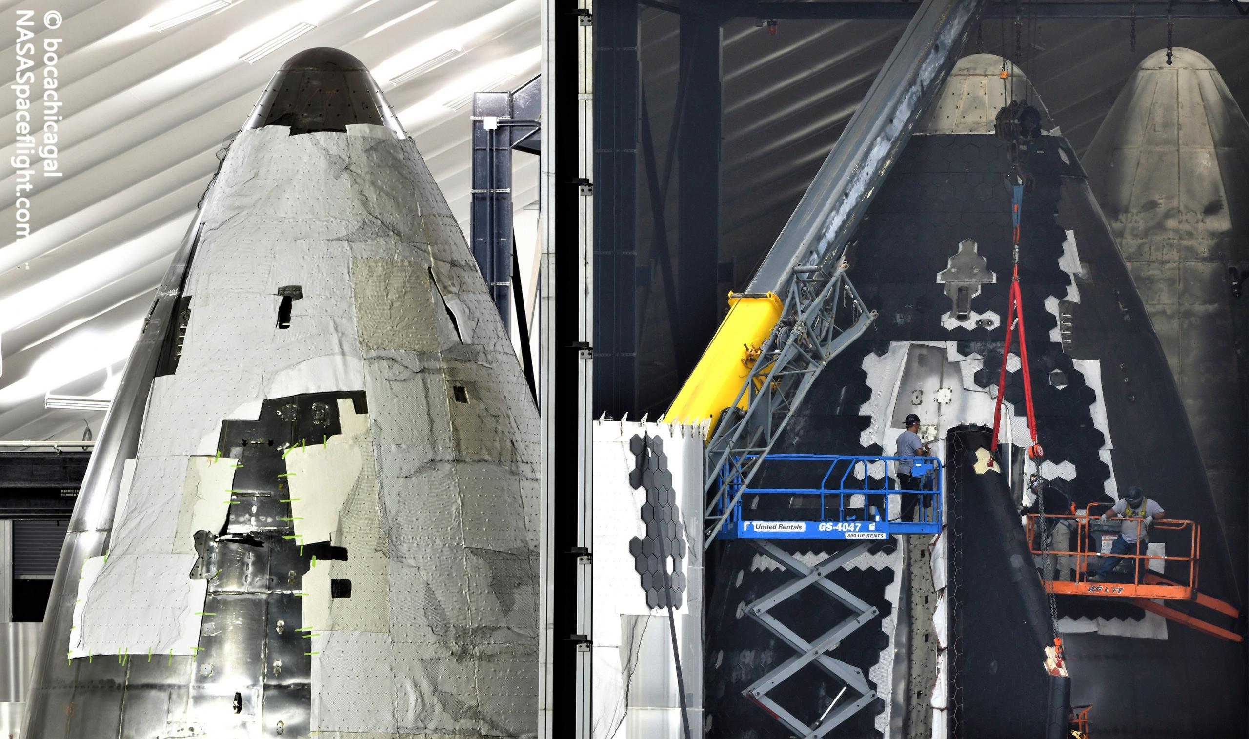 Starbase (NASASpaceflight – bocachicagal) S21 nose TPS work 0921 to 0930 1 (c)