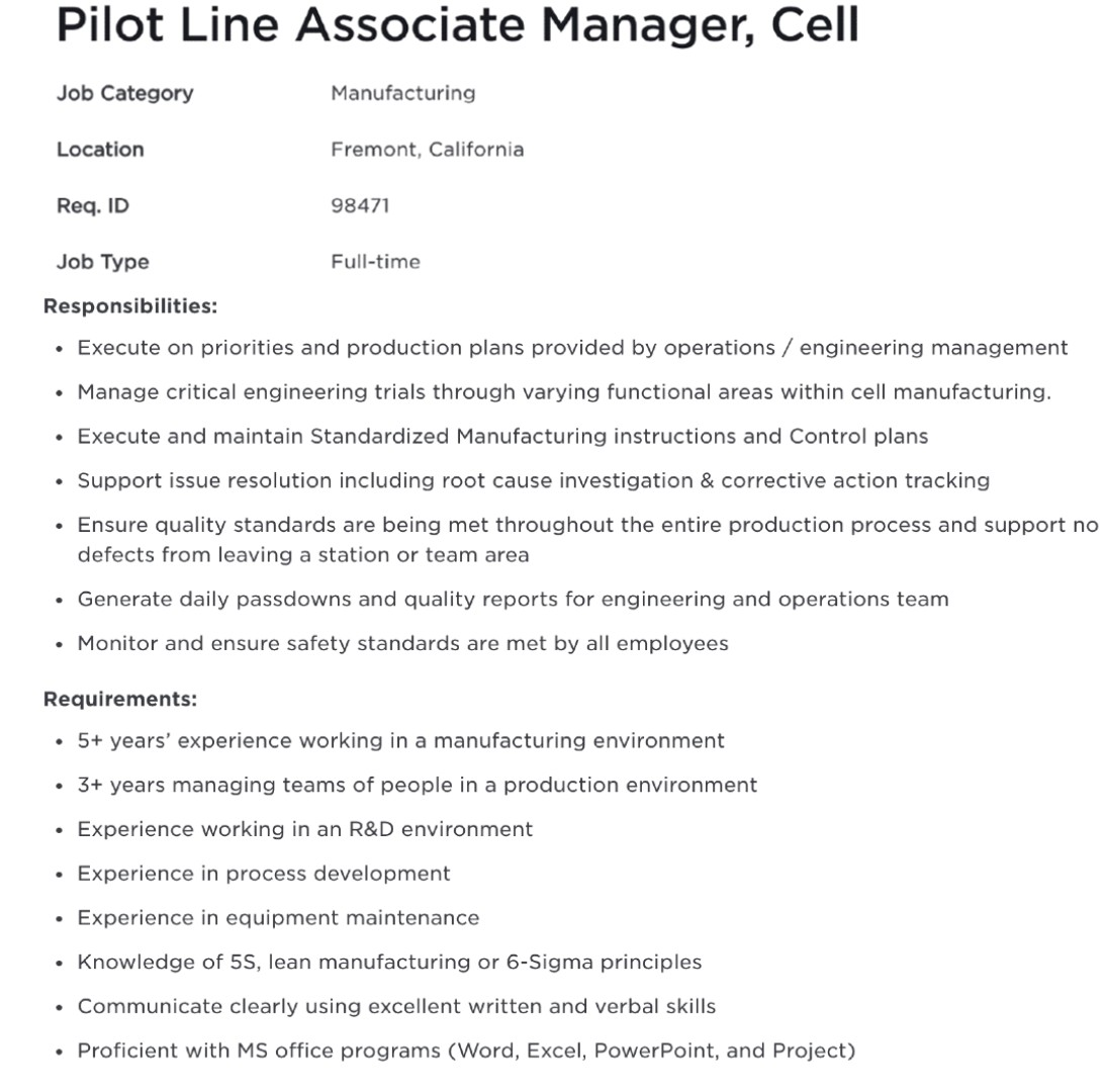 Tesla-4680-pilot-line-associate-manager