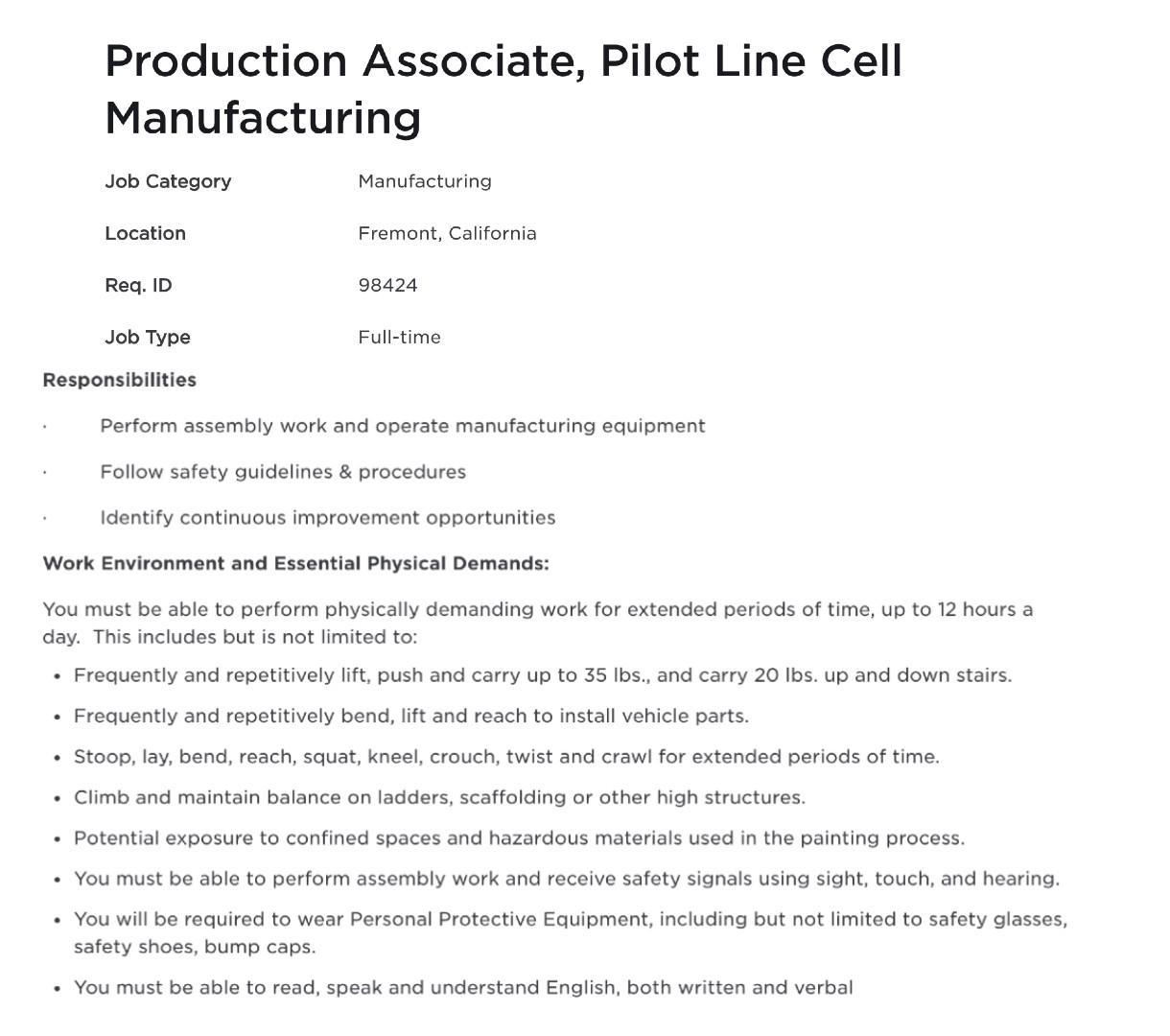Tesla-4680-pilot-line-production-associate