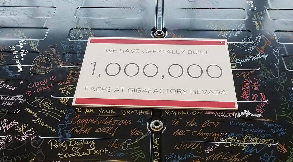 Tesla Gigafactory Nevada celebrates 1 million battery pack milestone