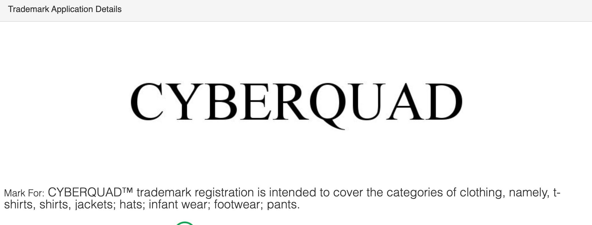 tesla-cyberquad-trademark-clothing-registration